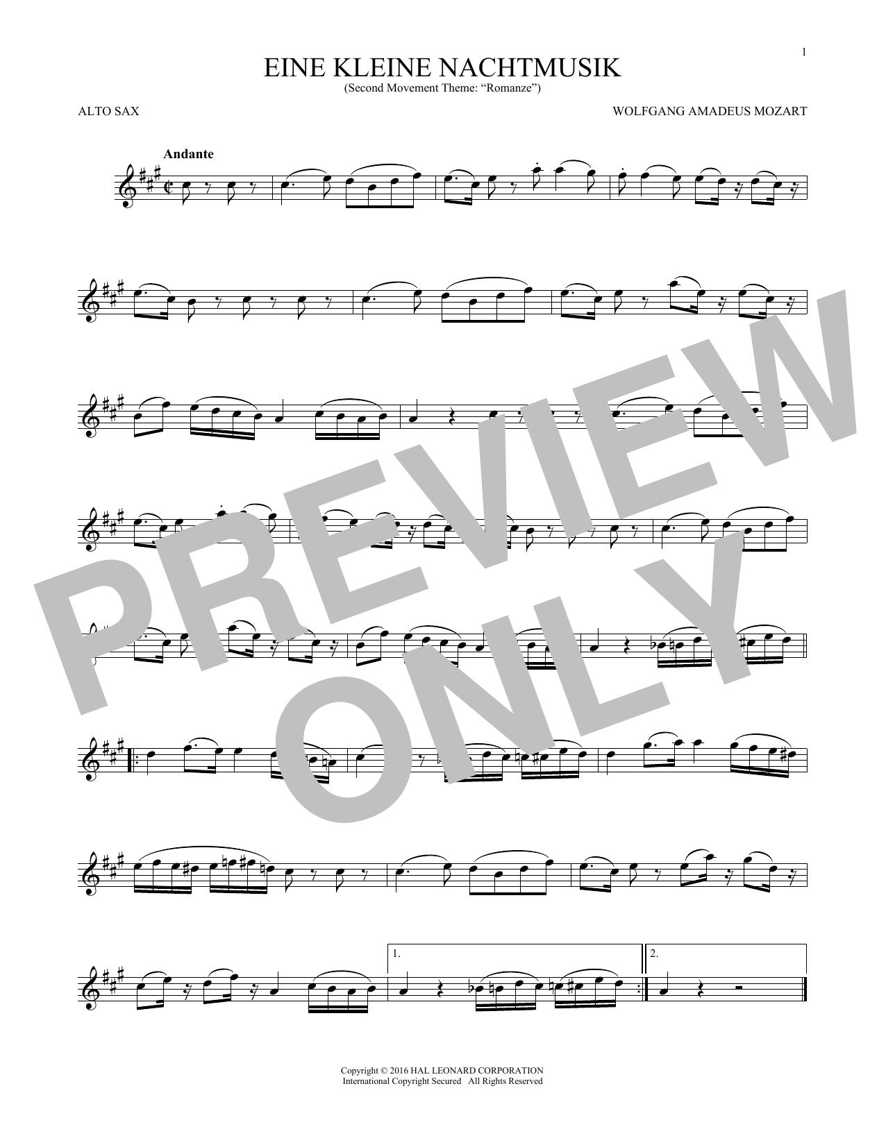 """Eine Kleine Nachtmusik (""""Romance""""), Second Movement (Alto Sax Solo)"""