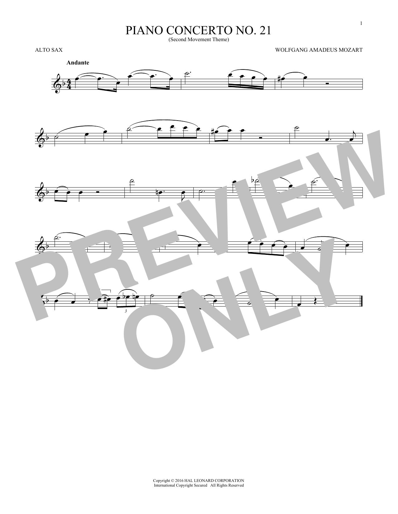 """Piano Concerto No. 21 In C Major (""""Elvira Madigan""""), Second Movement Excerpt (Alto Sax Solo)"""