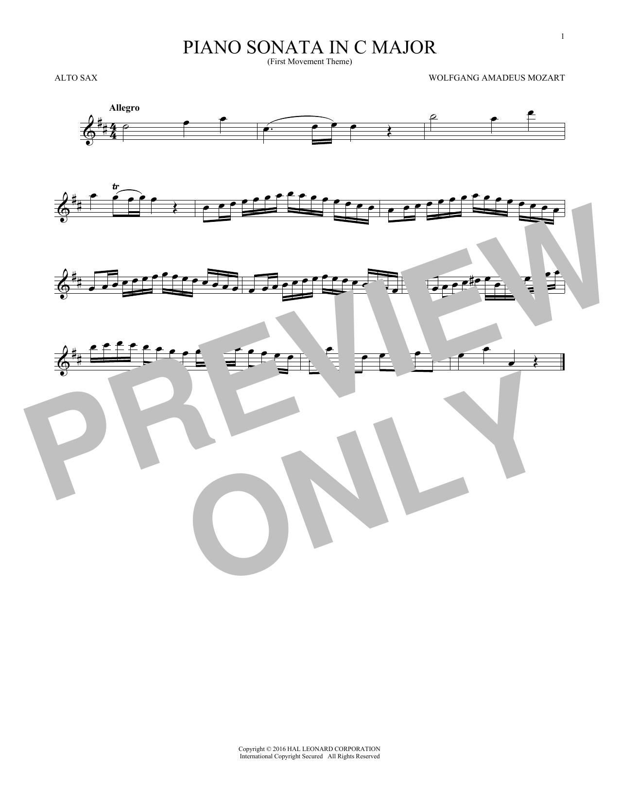 Piano Sonata In C Major (Alto Sax Solo)