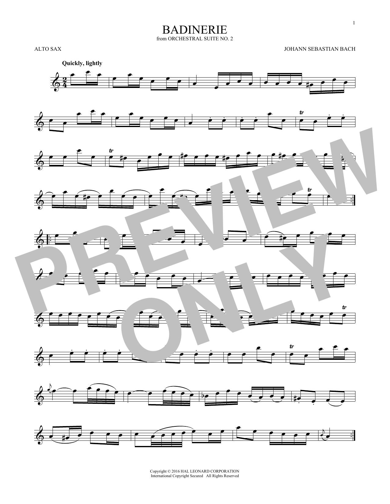 Badinerie (Suite No. 2) (Alto Sax Solo)