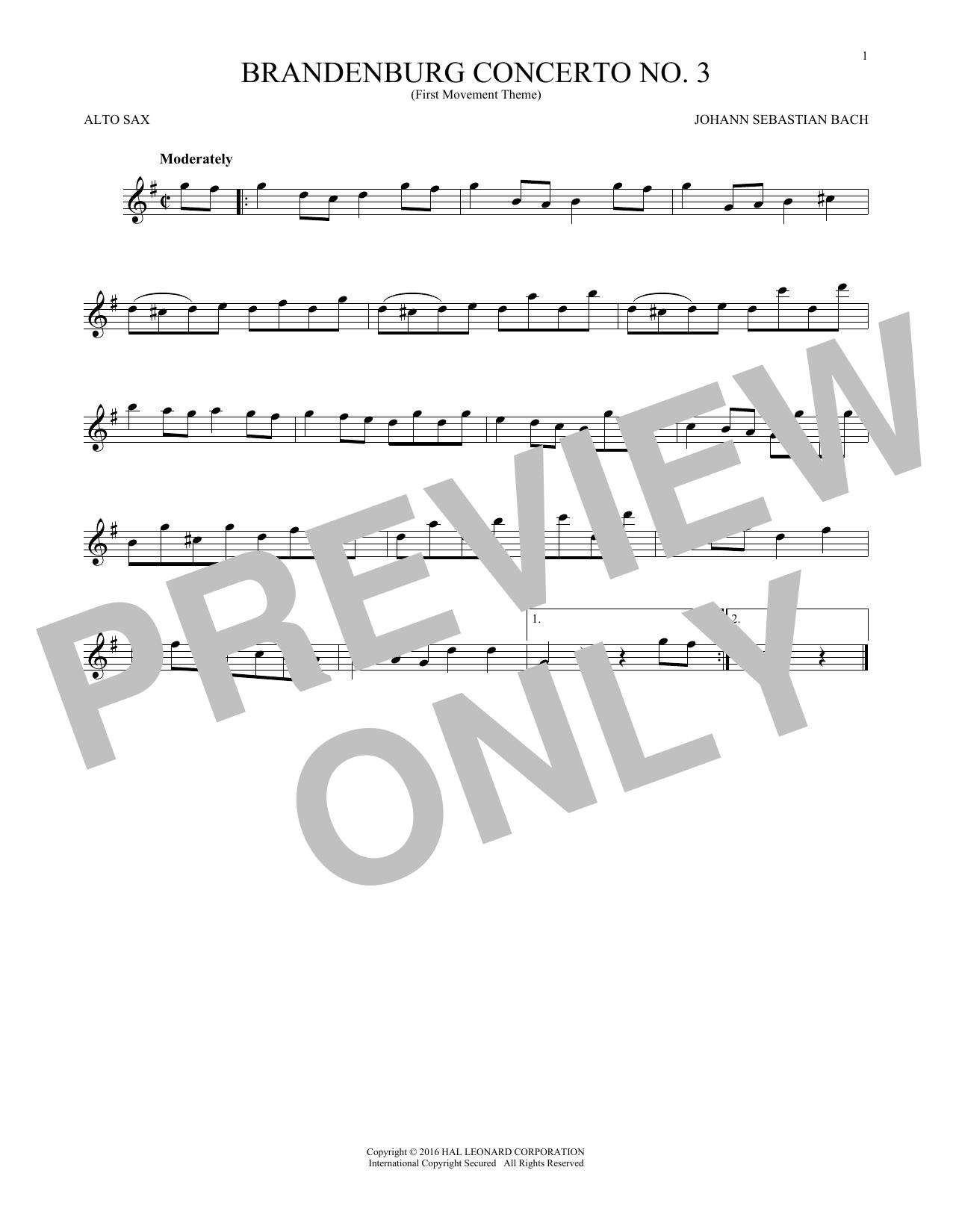 Brandenburg Concerto No. 3 (Alto Sax Solo)