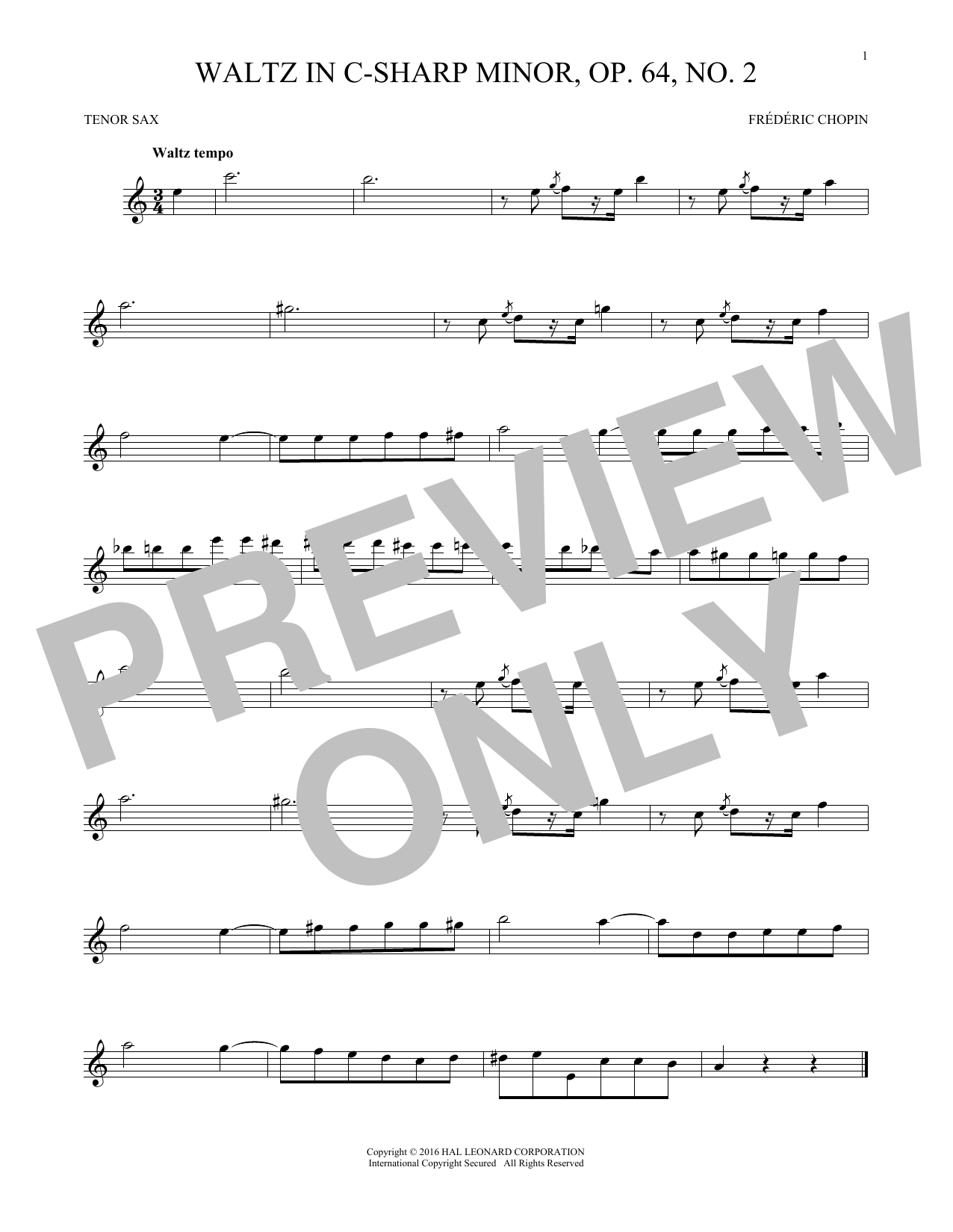 Waltz In C-Sharp Minor, Op. 64, No. 2 (Tenor Sax Solo)
