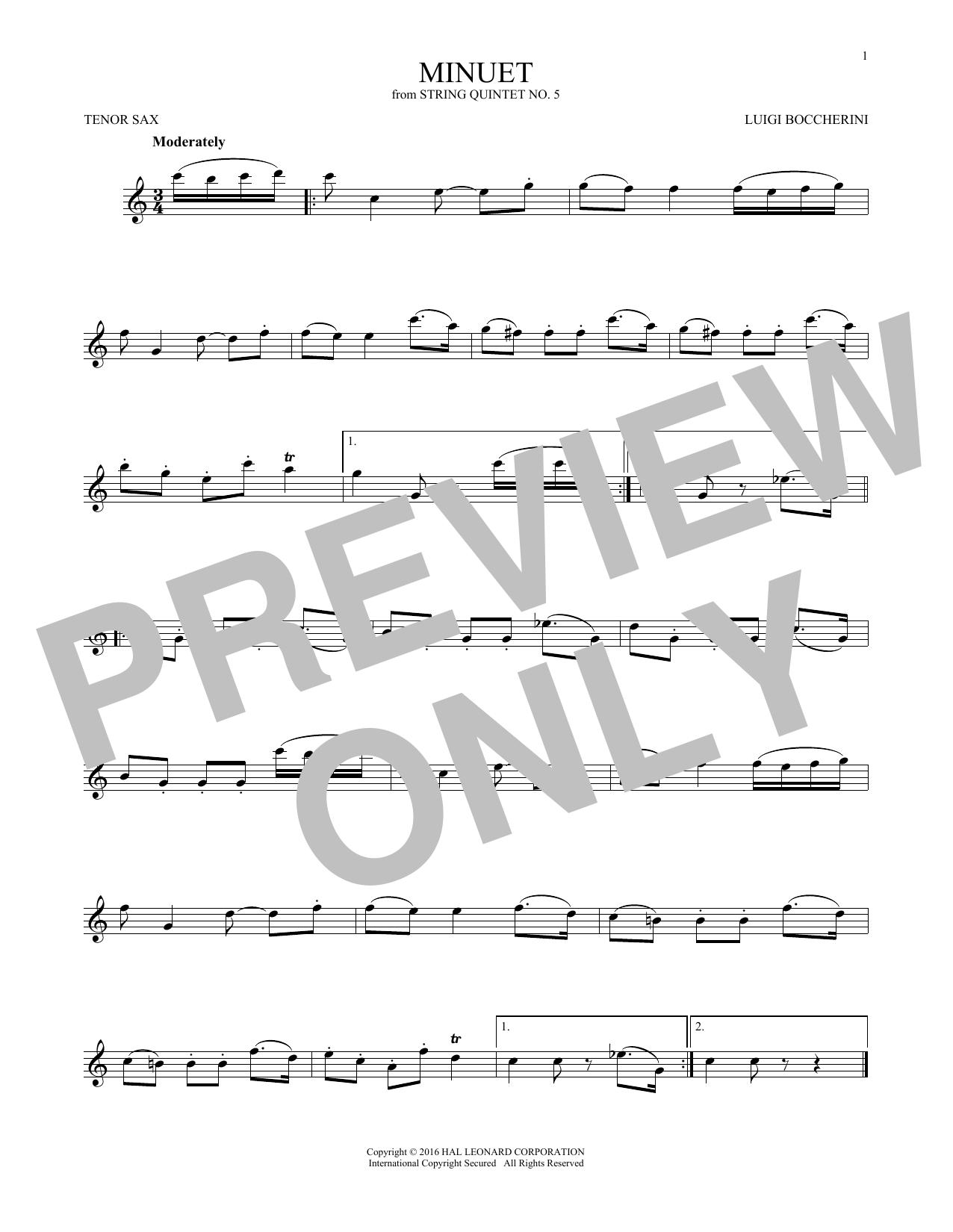 Minuet (Tenor Sax Solo)