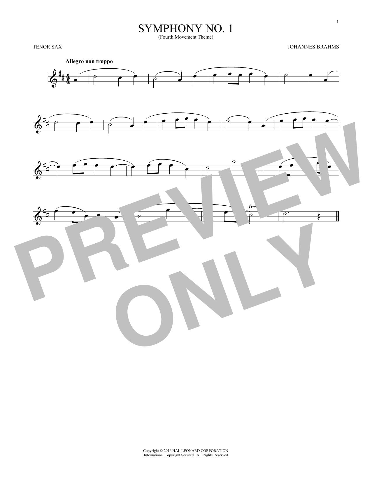 Symphony No. 1 In C Minor, Fourth Movement Excerpt (Tenor Sax Solo)
