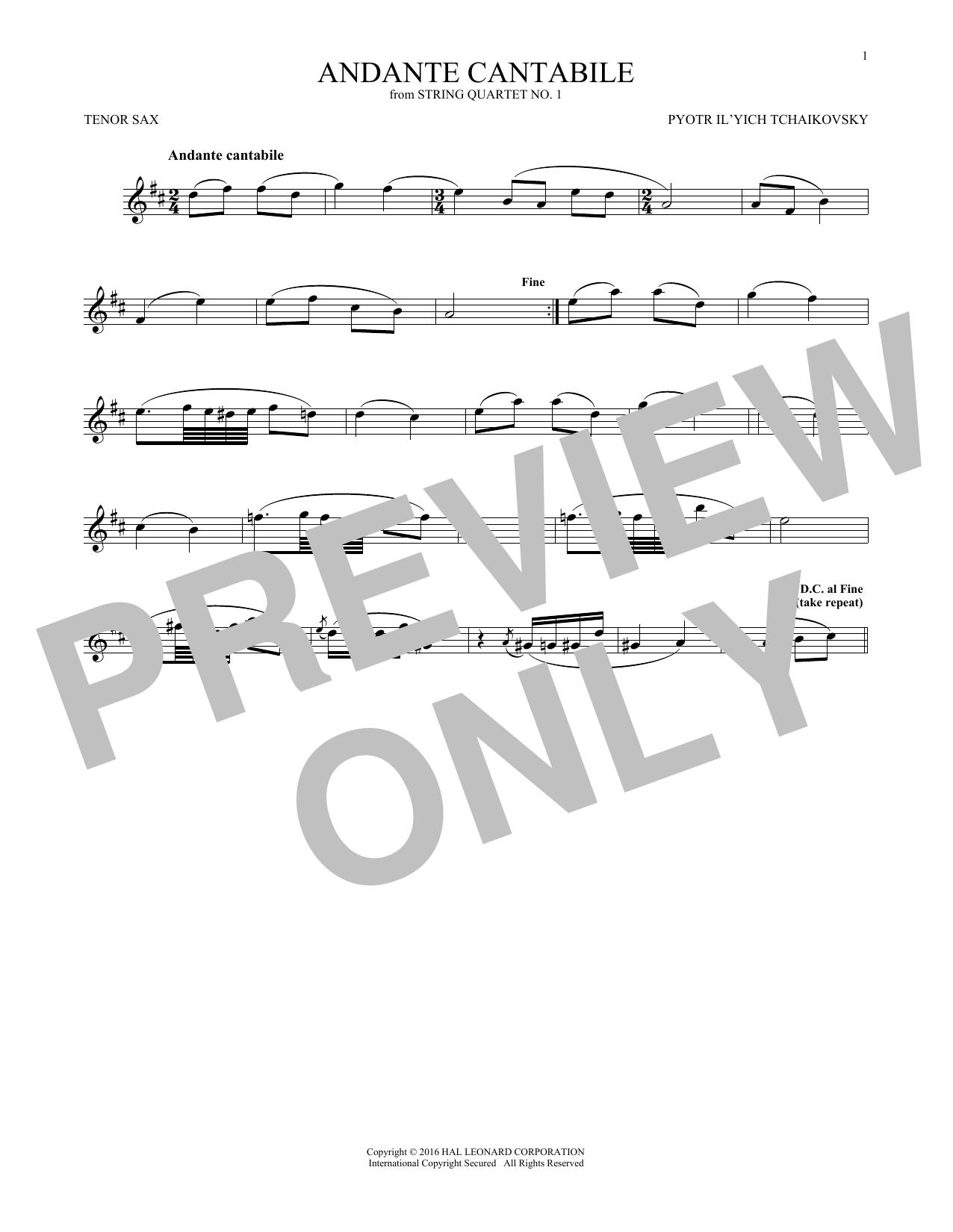 Andante Cantabile (Tenor Sax Solo)