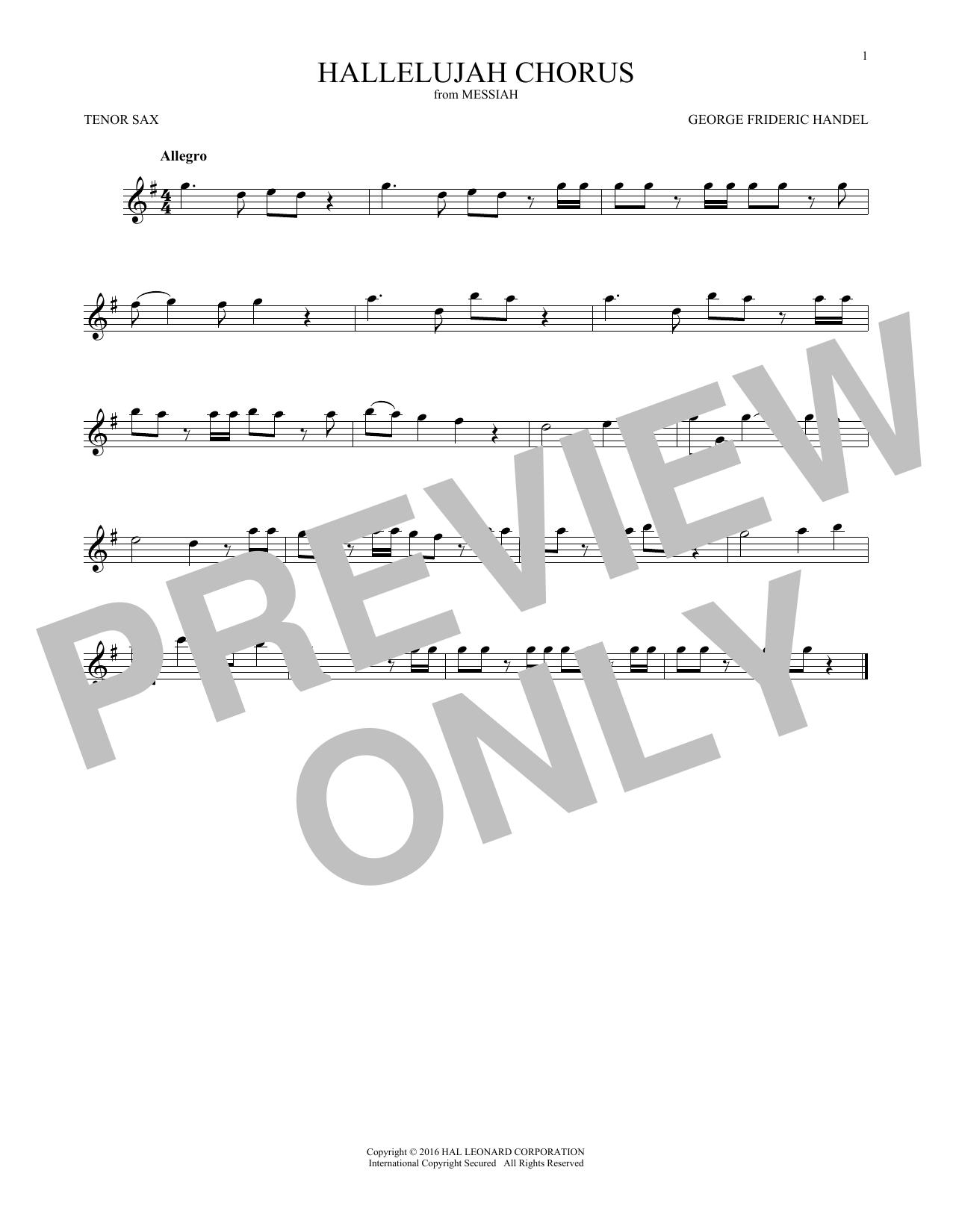 Hallelujah Chorus (Tenor Sax Solo)