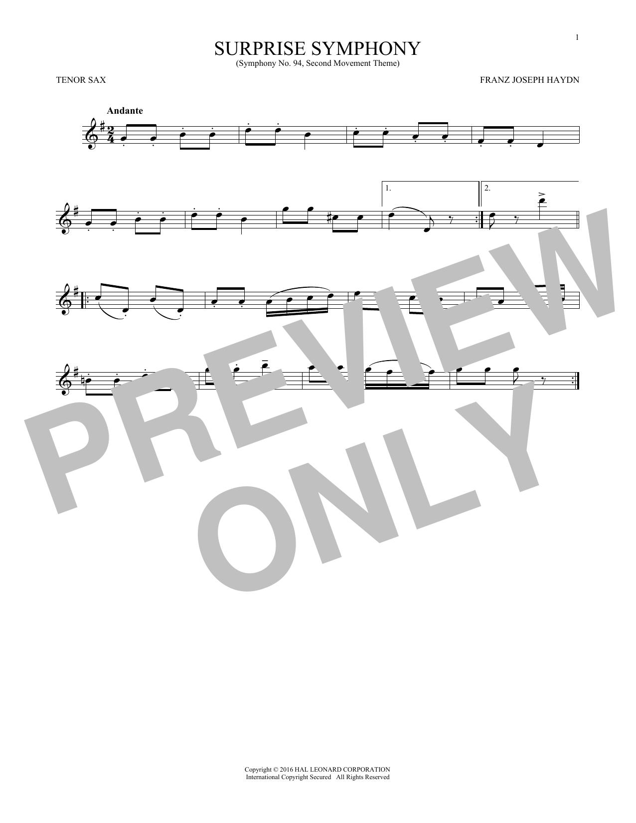 The Surprise Symphony (Tenor Sax Solo)