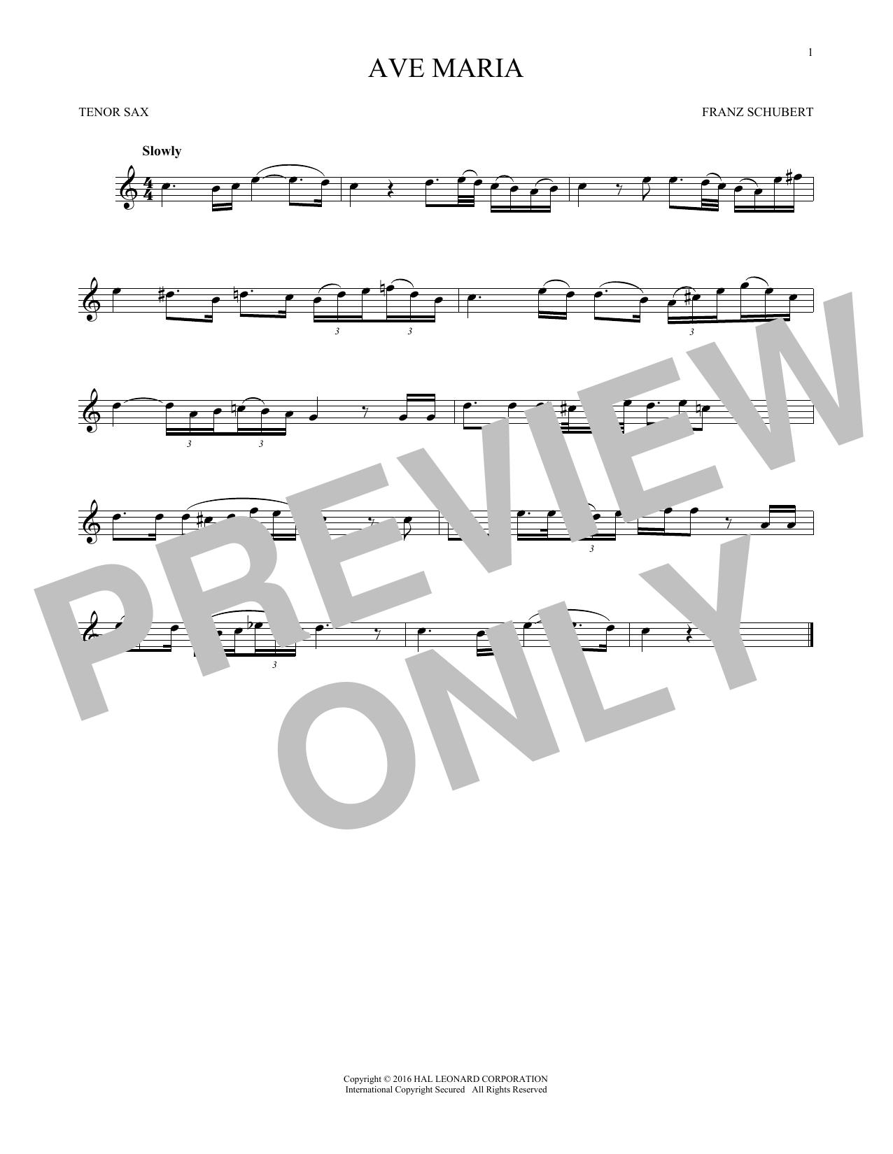 Ave Maria, Op. 52, No. 6 (Tenor Sax Solo)