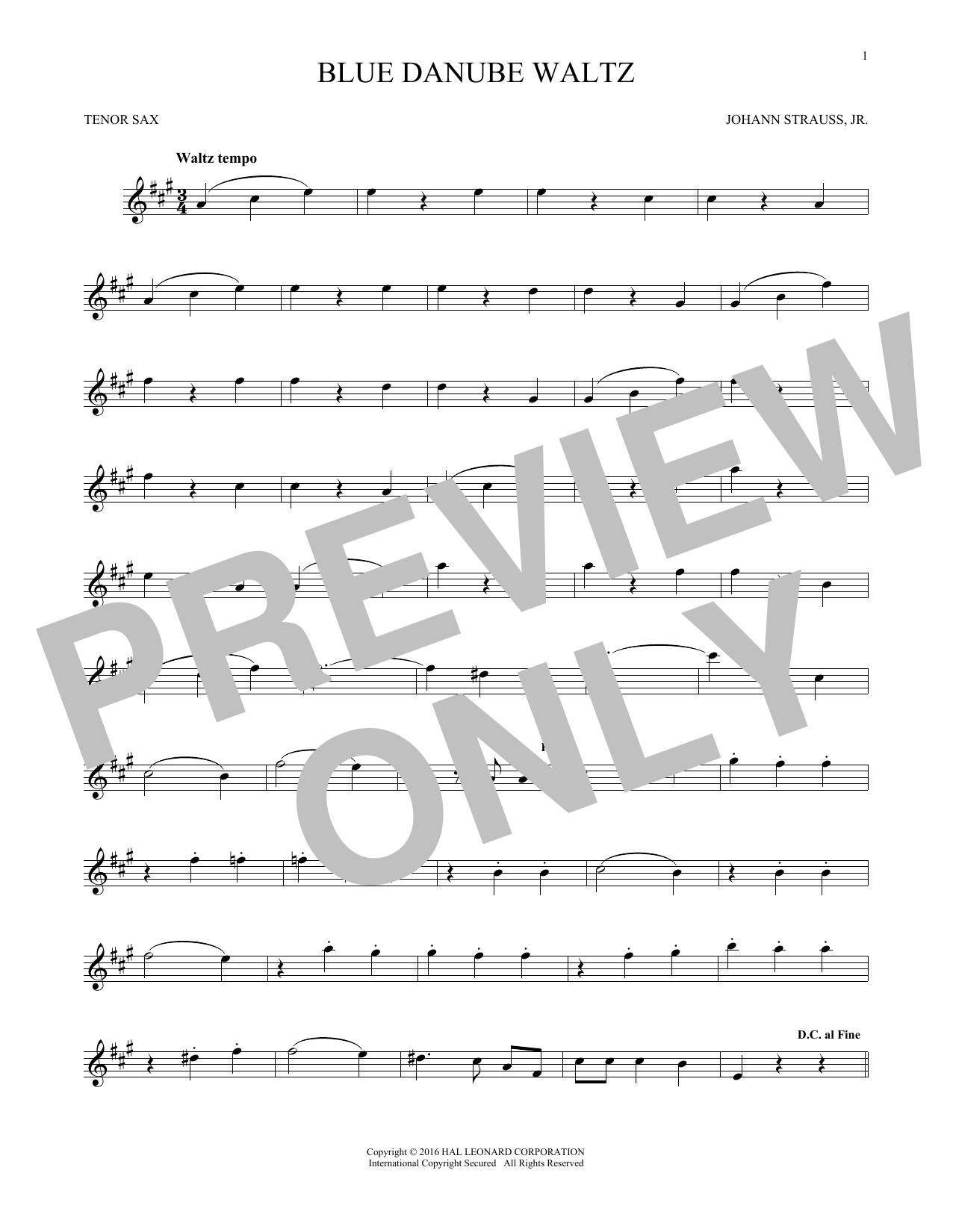 Blue Danube Waltz (Tenor Sax Solo)