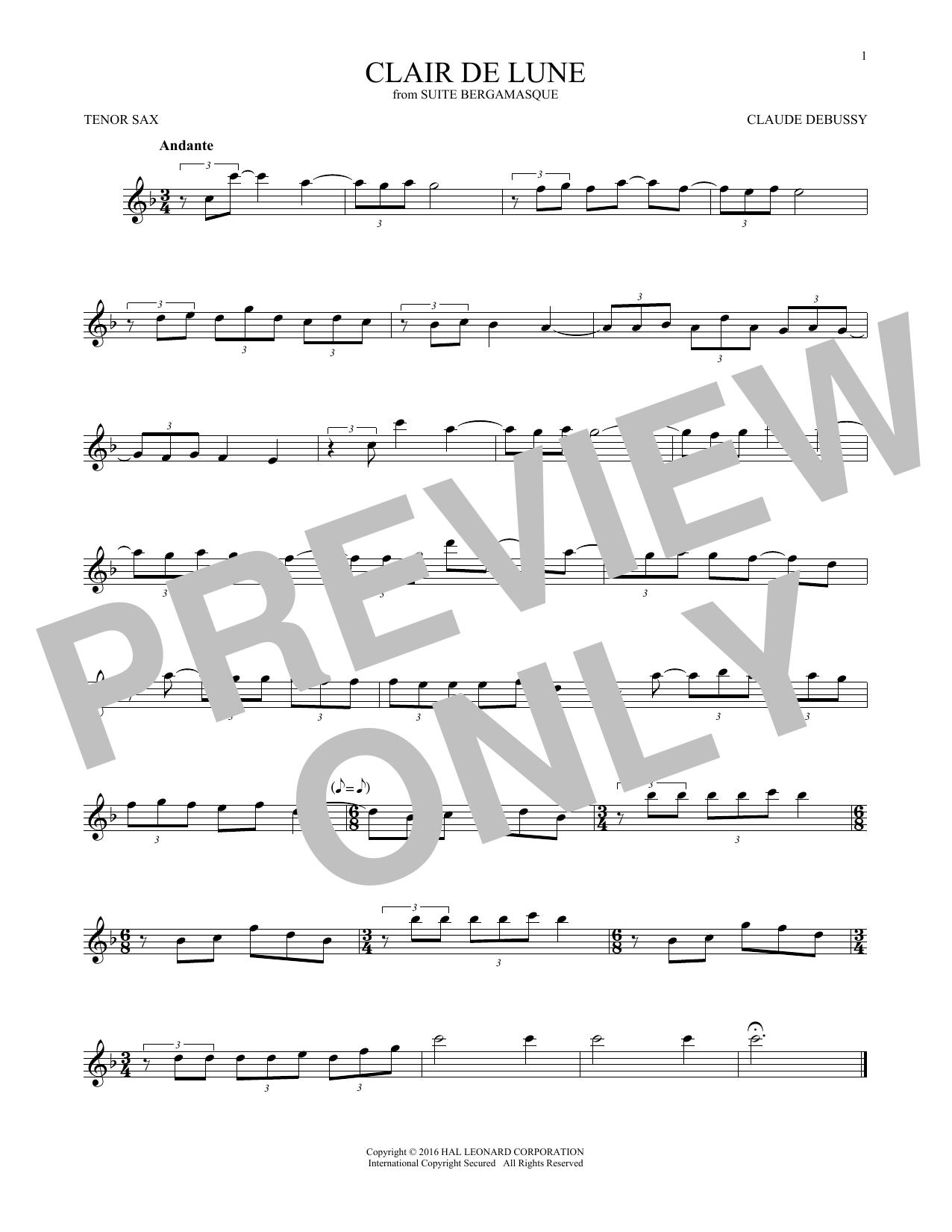 Clair De Lune (Tenor Sax Solo)