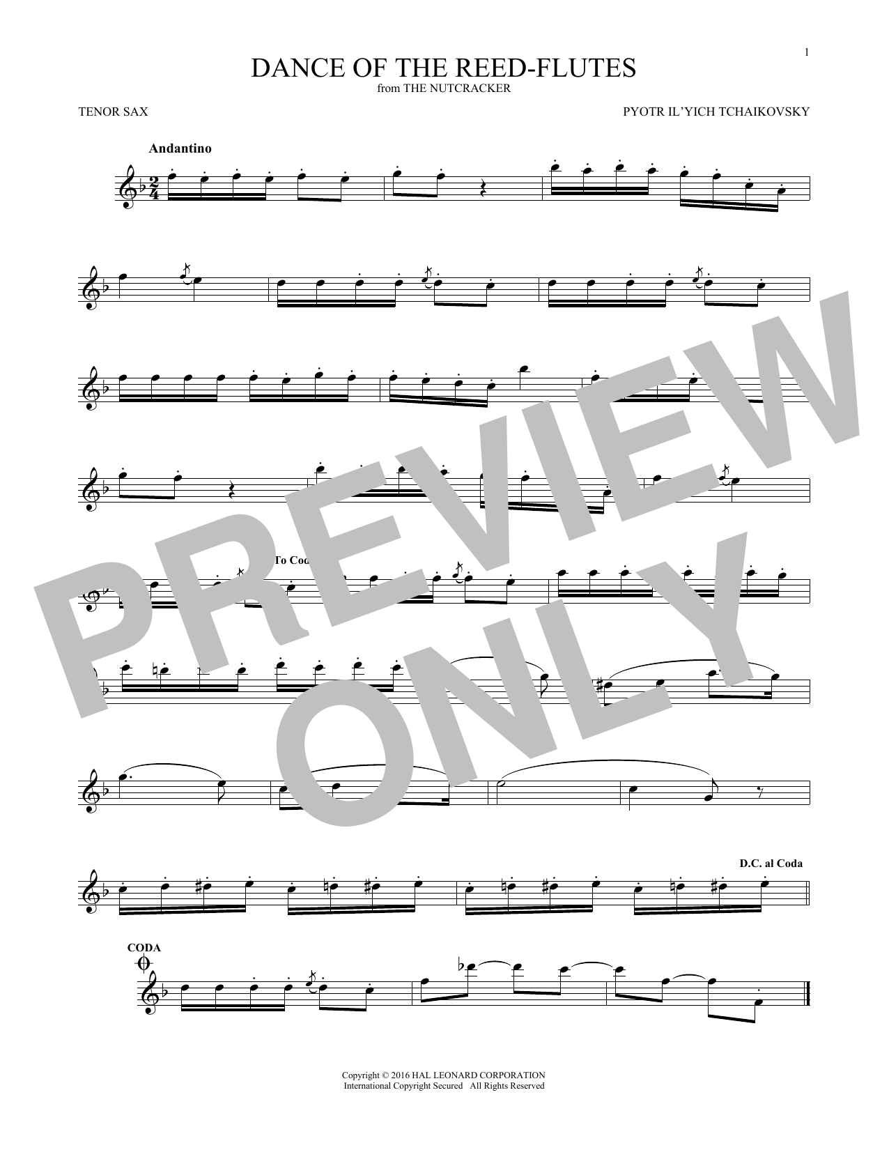 Dance Of The Reed Flutes, Op. 71a (Tenor Sax Solo)