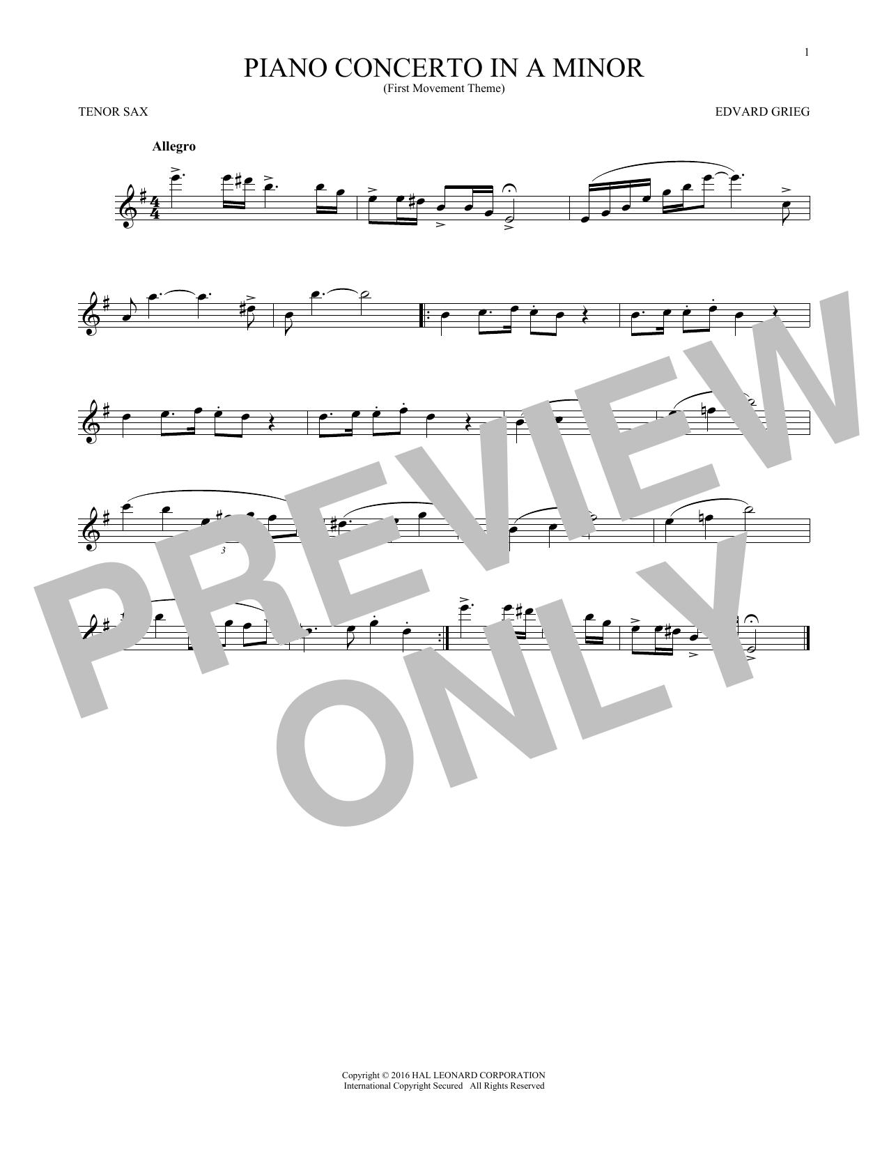 Piano Concerto In A Minor, Op. 16 (Tenor Sax Solo)