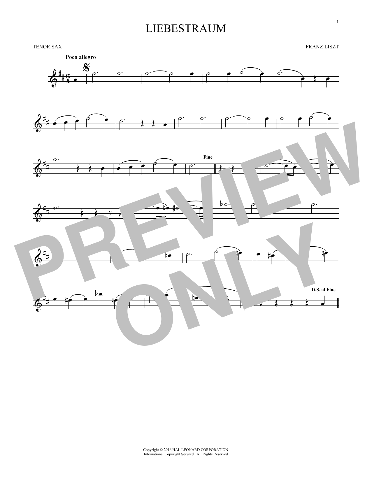 Liebestraum (Dream Of Love) (Tenor Sax Solo)