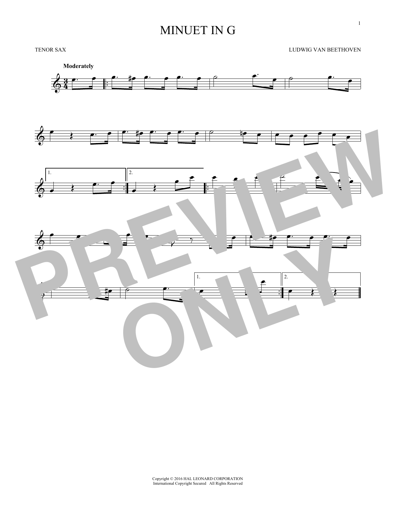Minuet In G (Tenor Sax Solo)