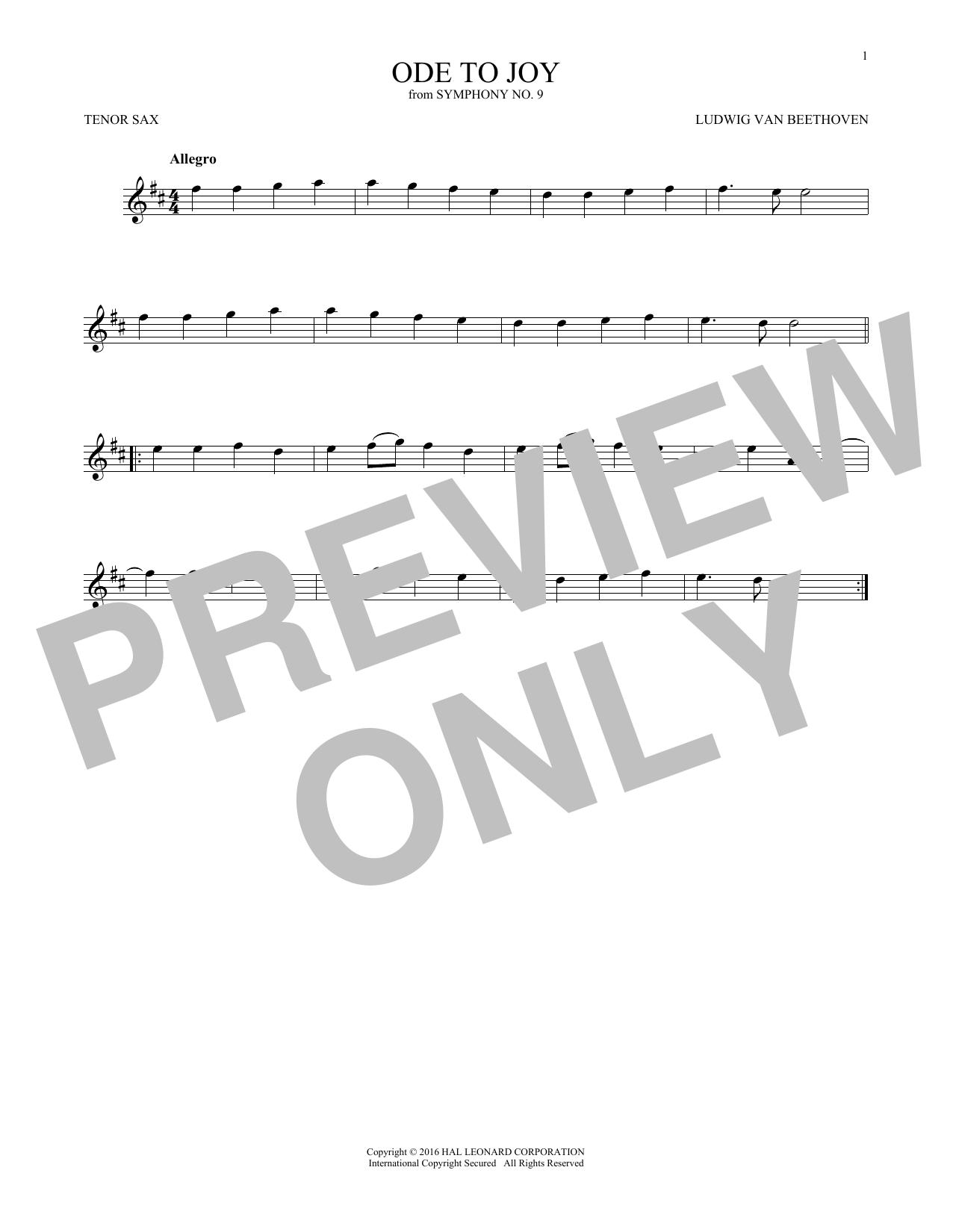 Ode To Joy (Tenor Sax Solo)