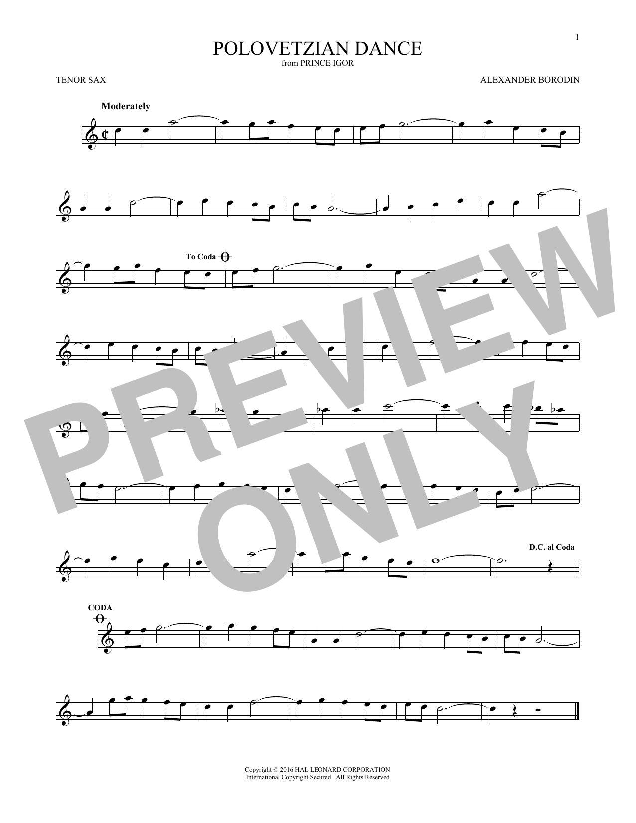 Polovetsian Dances (Tenor Sax Solo)