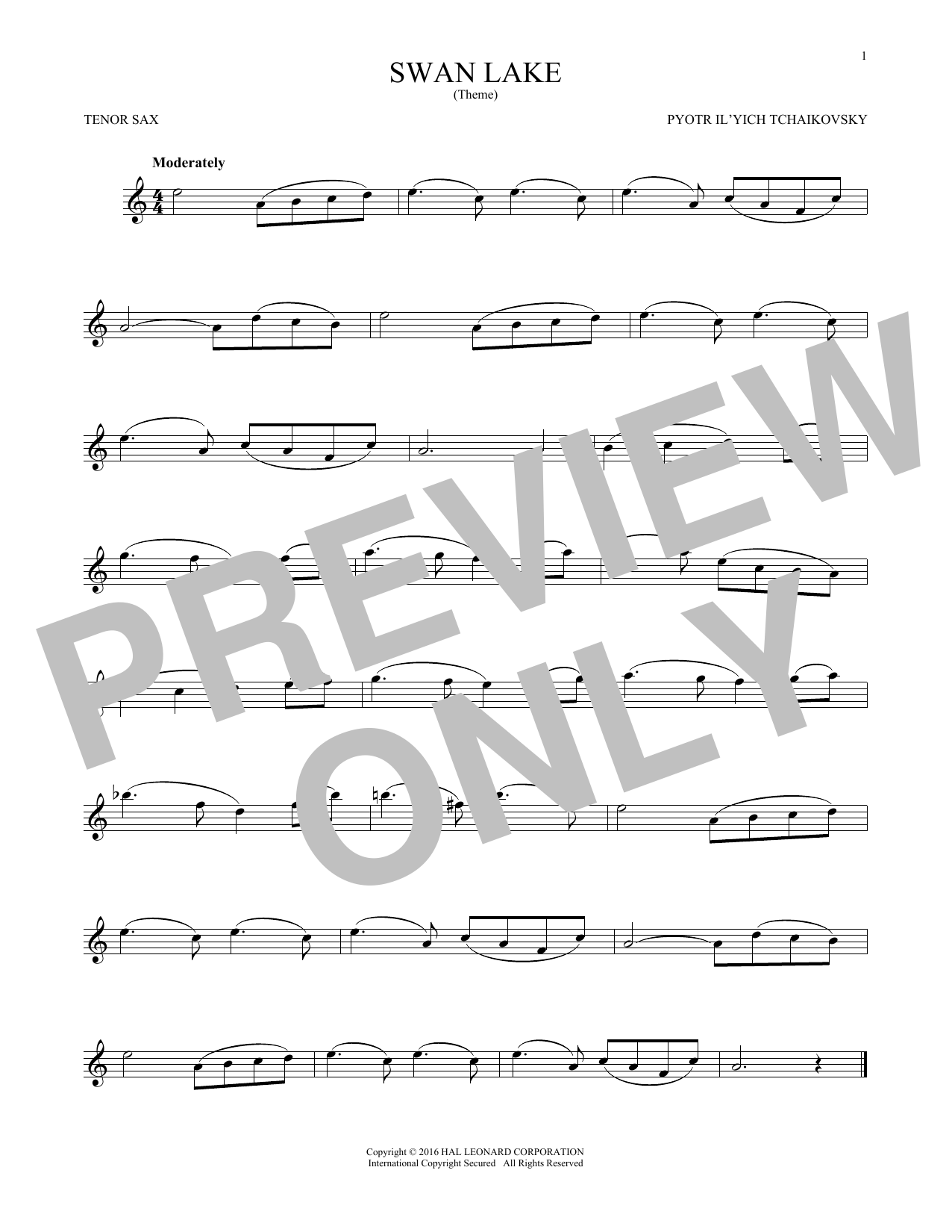 Theme From Swan Lake (Tenor Sax Solo)