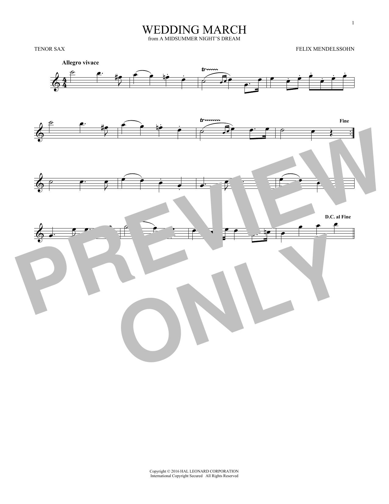 Wedding March (Tenor Sax Solo)