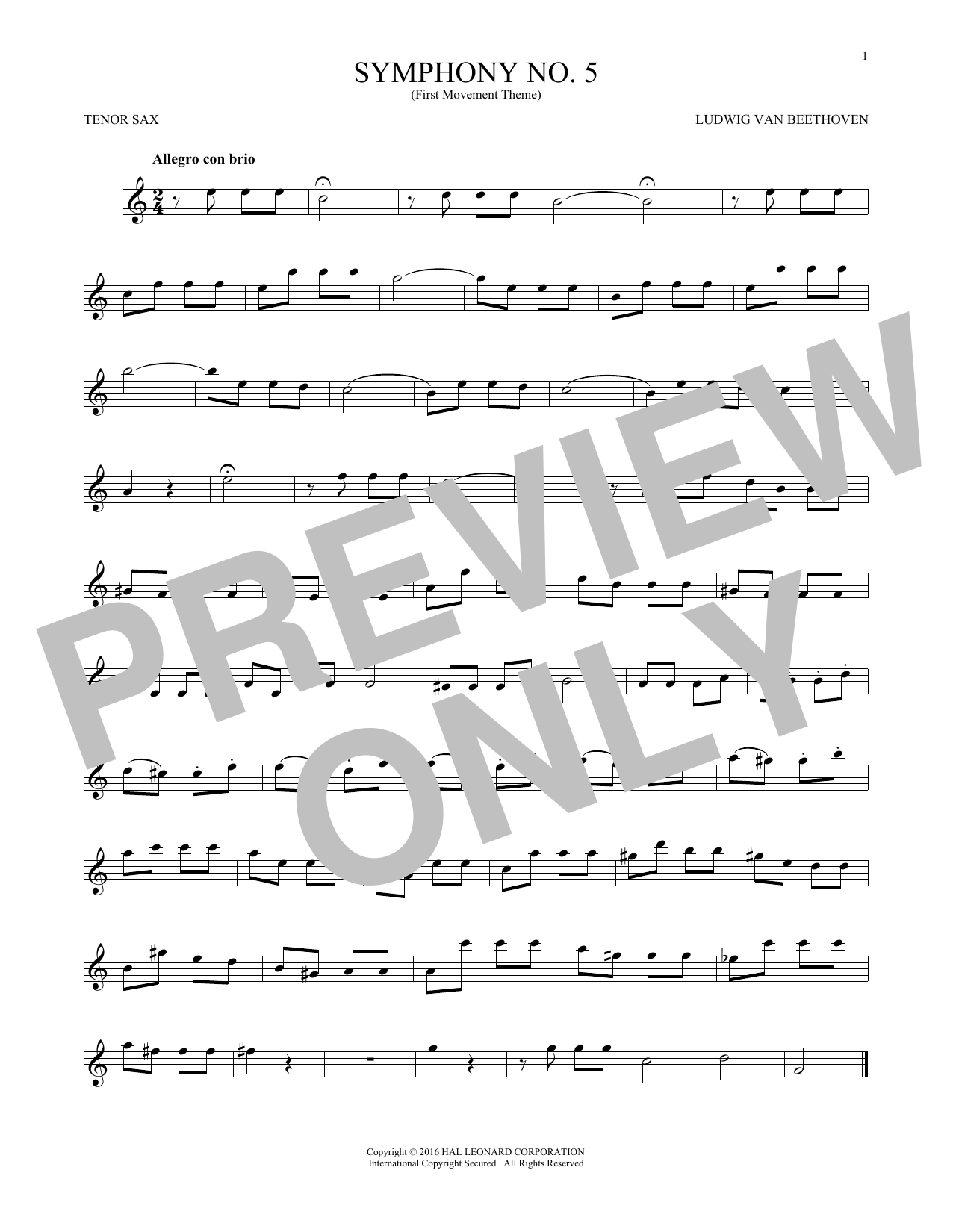 Symphony No. 5 In C Minor, First Movement Excerpt (Tenor Sax Solo)