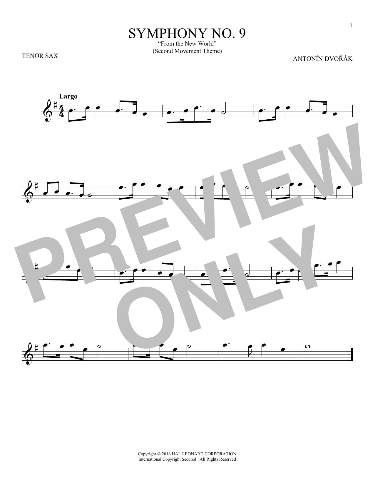 """Largo From Symphony No. 9 (""""New World"""") (Tenor Sax Solo)"""