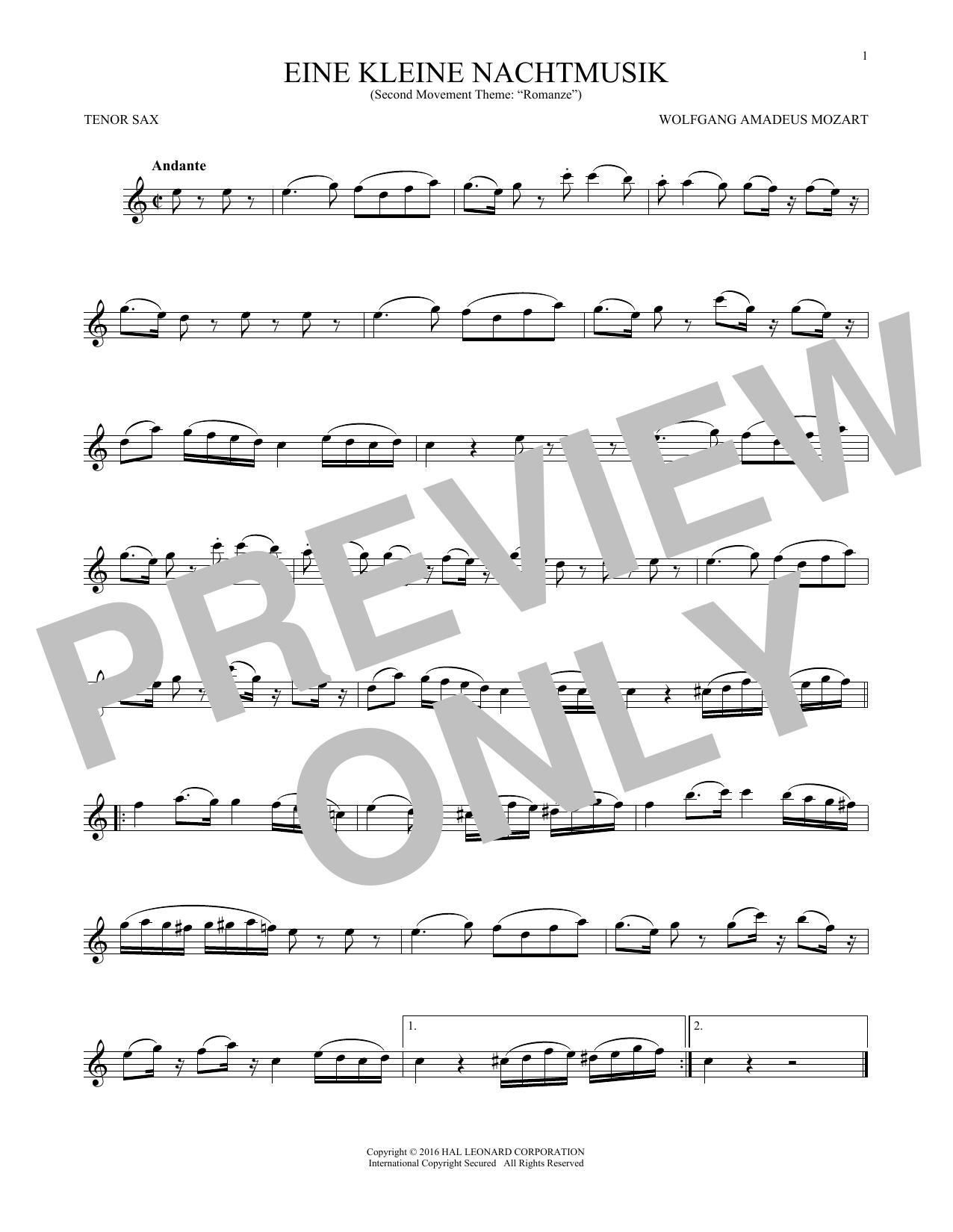 """Eine Kleine Nachtmusik (""""Romance""""), Second Movement (Tenor Sax Solo)"""