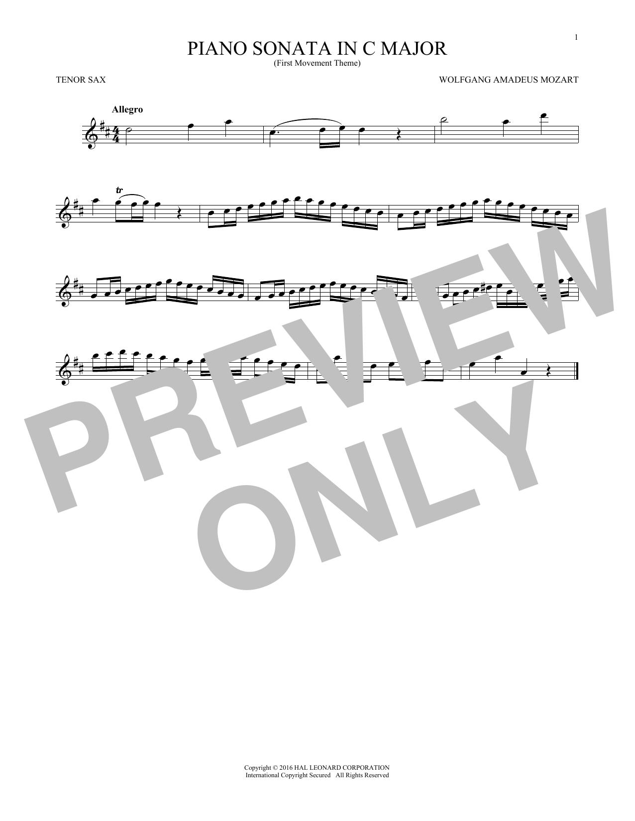 Piano Sonata In C Major (Tenor Sax Solo)