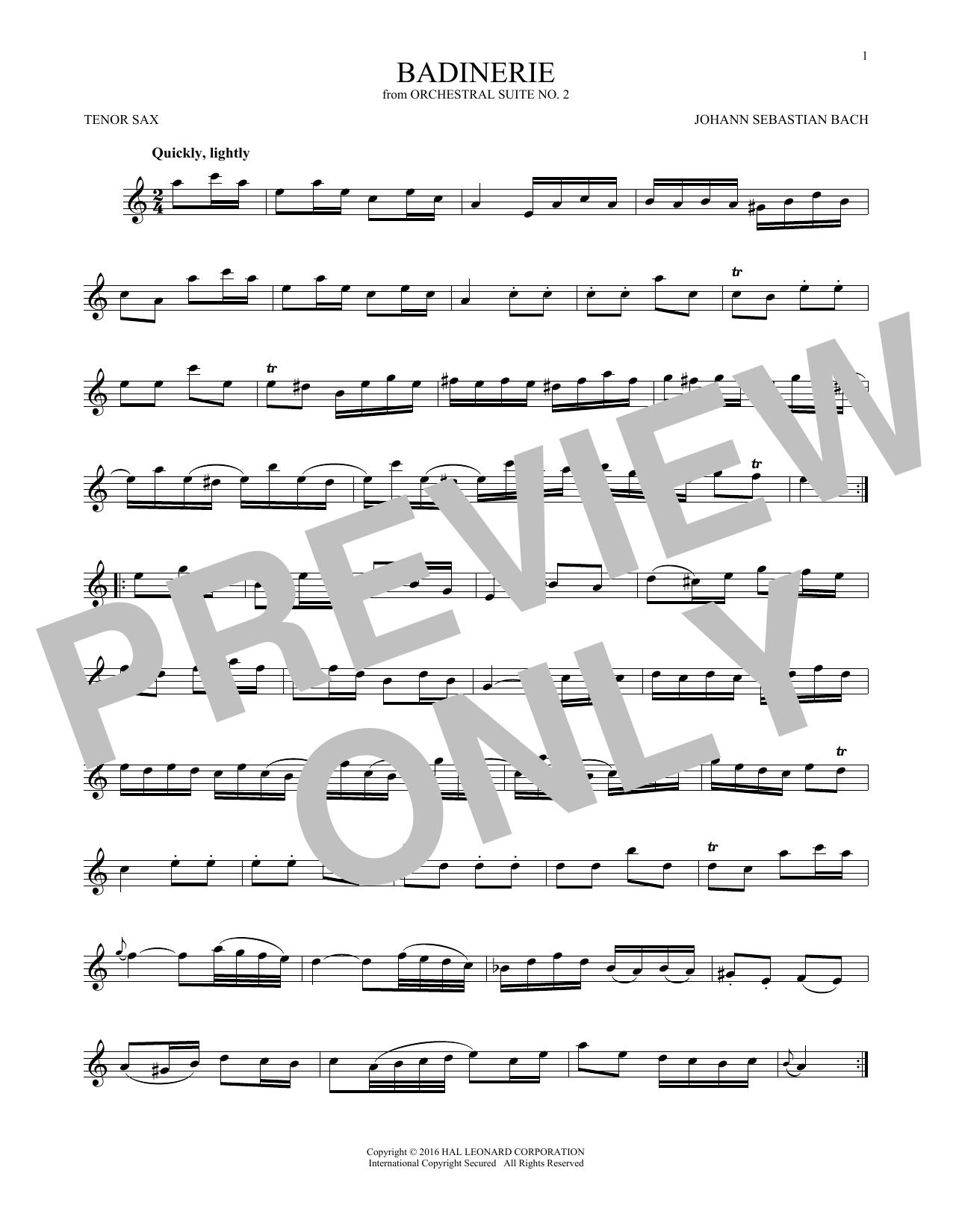 Badinerie (Suite No. 2) (Tenor Sax Solo)