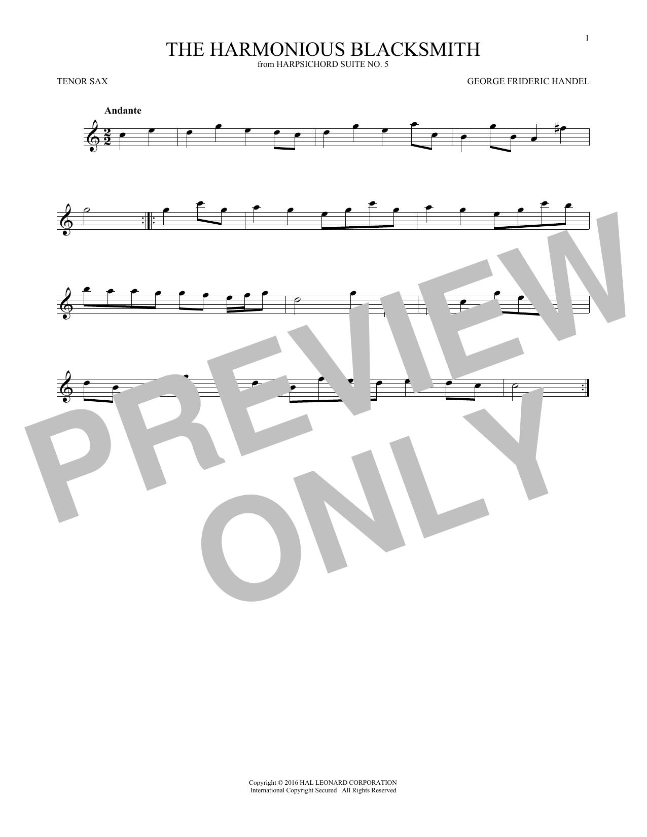 Harmonious Blacksmith (Tenor Sax Solo)