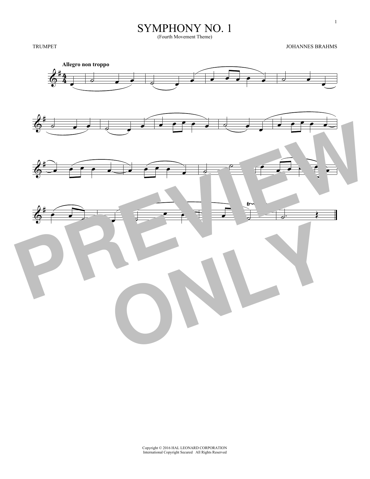 Symphony No. 1 In C Minor, Fourth Movement Excerpt (Trumpet Solo)
