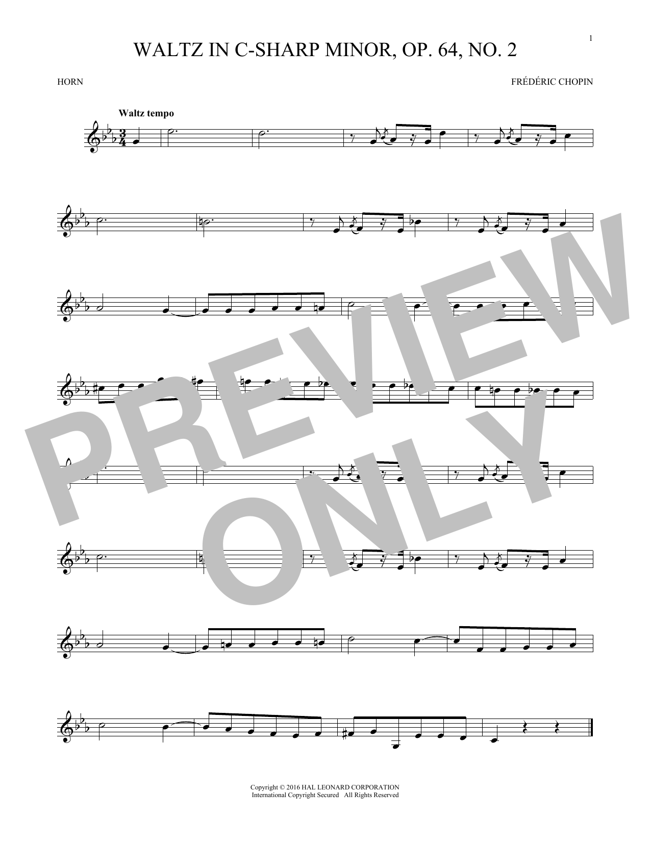 Waltz In C-Sharp Minor, Op. 64, No. 2 (French Horn Solo)