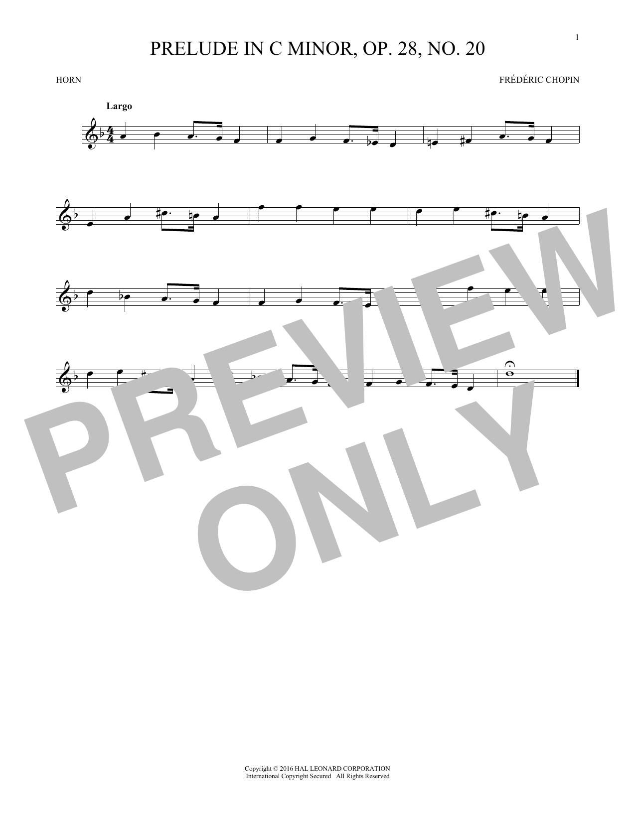 Prelude, Op. 28, No. 20 (French Horn Solo)