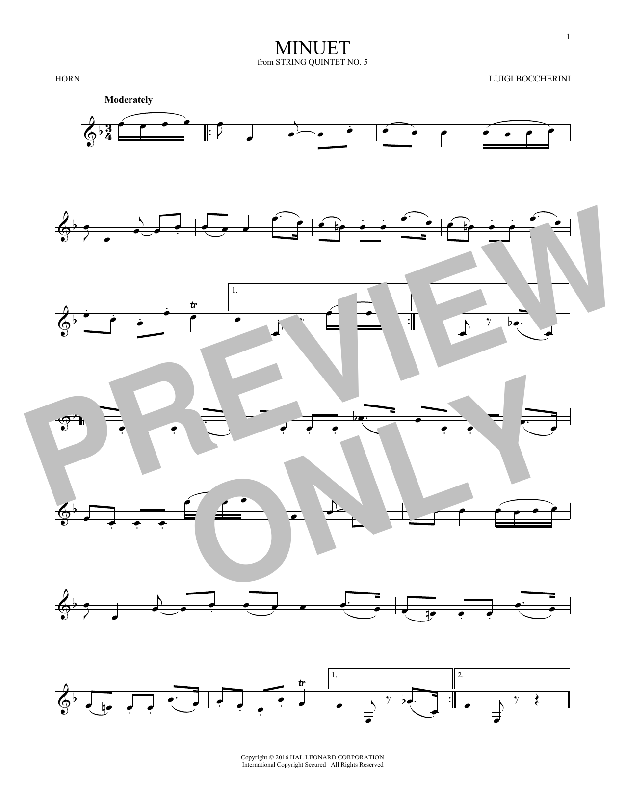 Minuet (French Horn Solo)