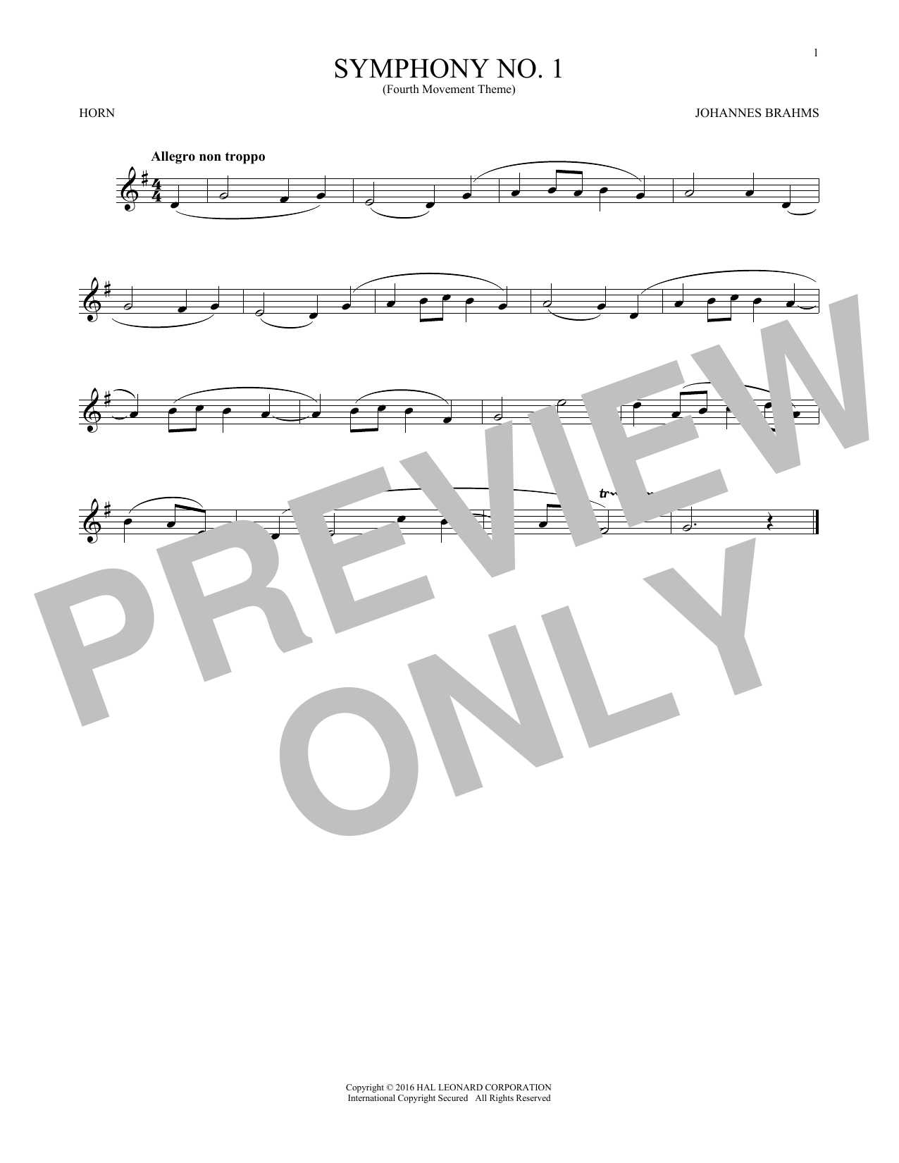 Symphony No. 1 In C Minor, Fourth Movement Excerpt (French Horn Solo)