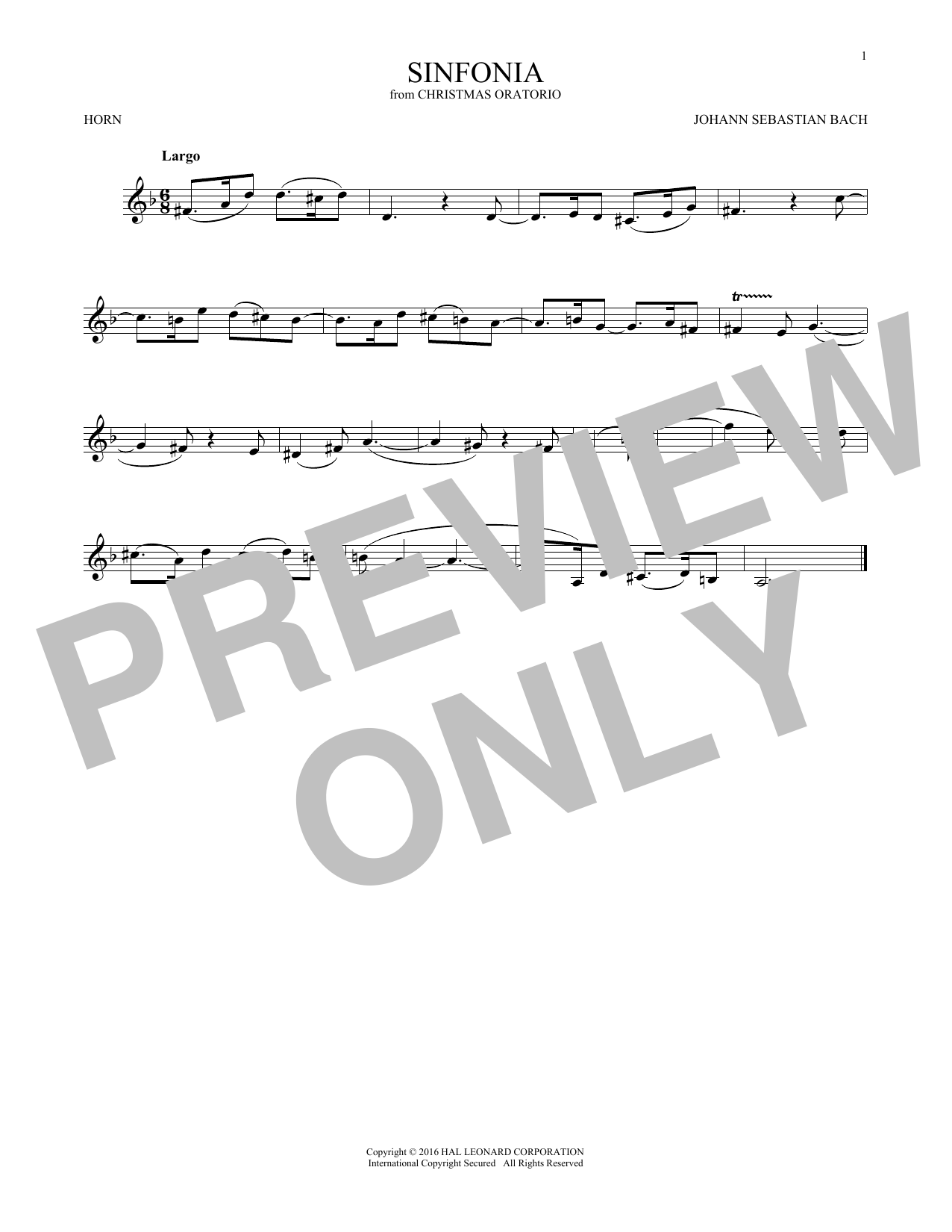 Sinfonia (French Horn Solo)
