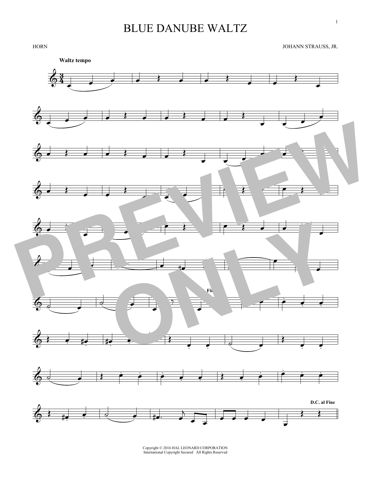 Blue Danube Waltz (French Horn Solo)