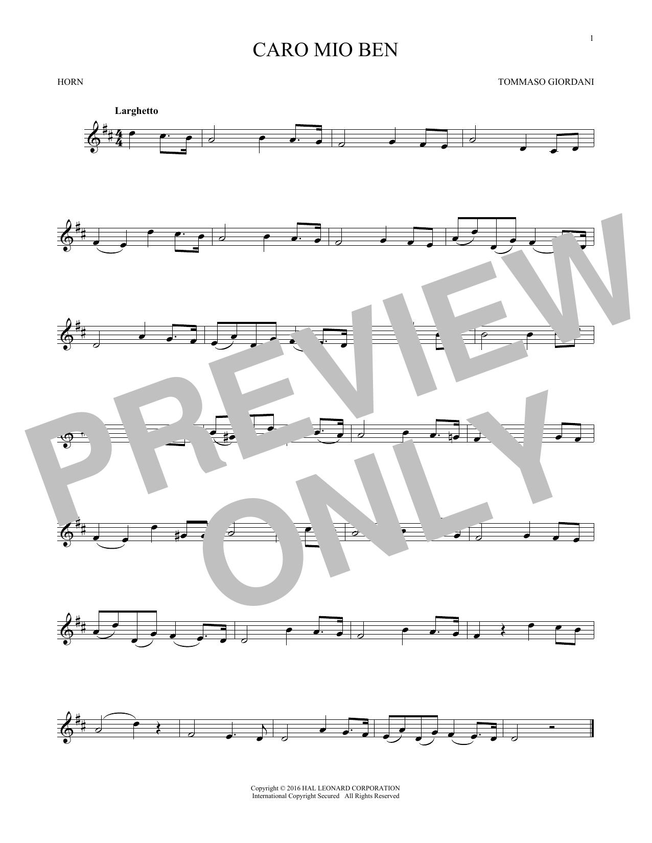 Caro Mio Ben (French Horn Solo)