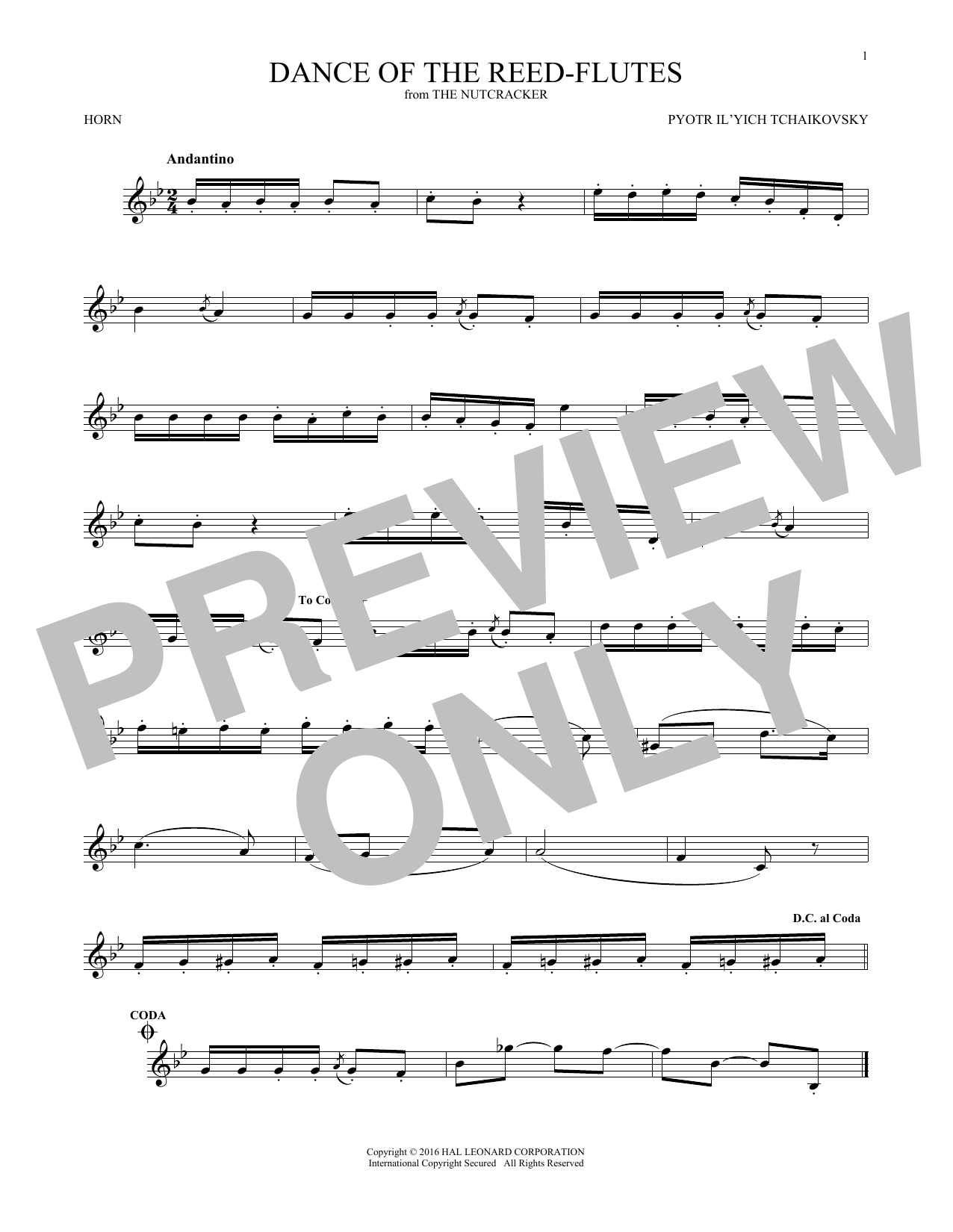 Dance Of The Reed Flutes, Op. 71a (French Horn Solo)