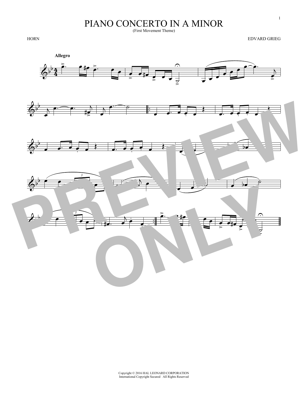 Piano Concerto In A Minor, Op. 16 (French Horn Solo)