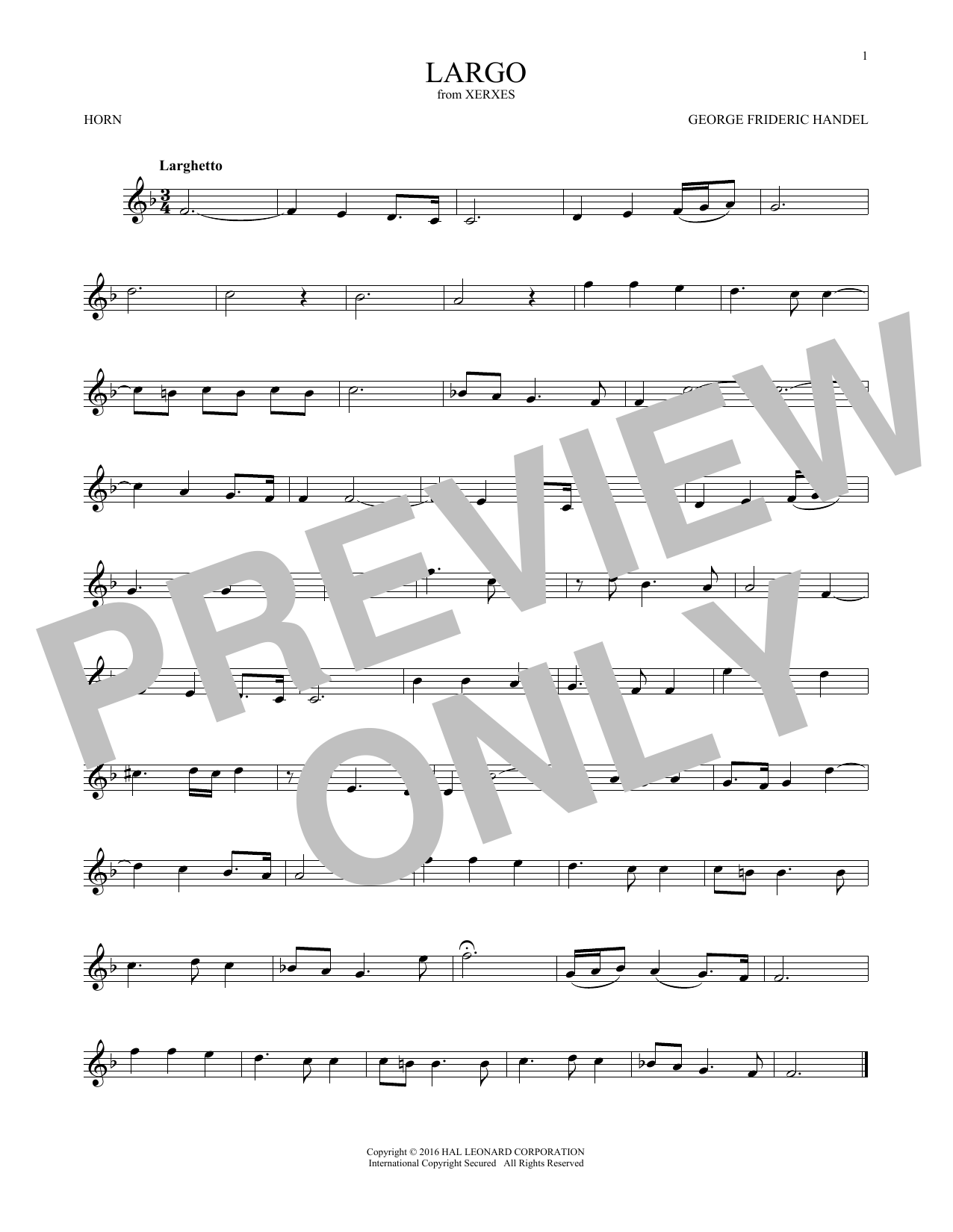 Largo (French Horn Solo)