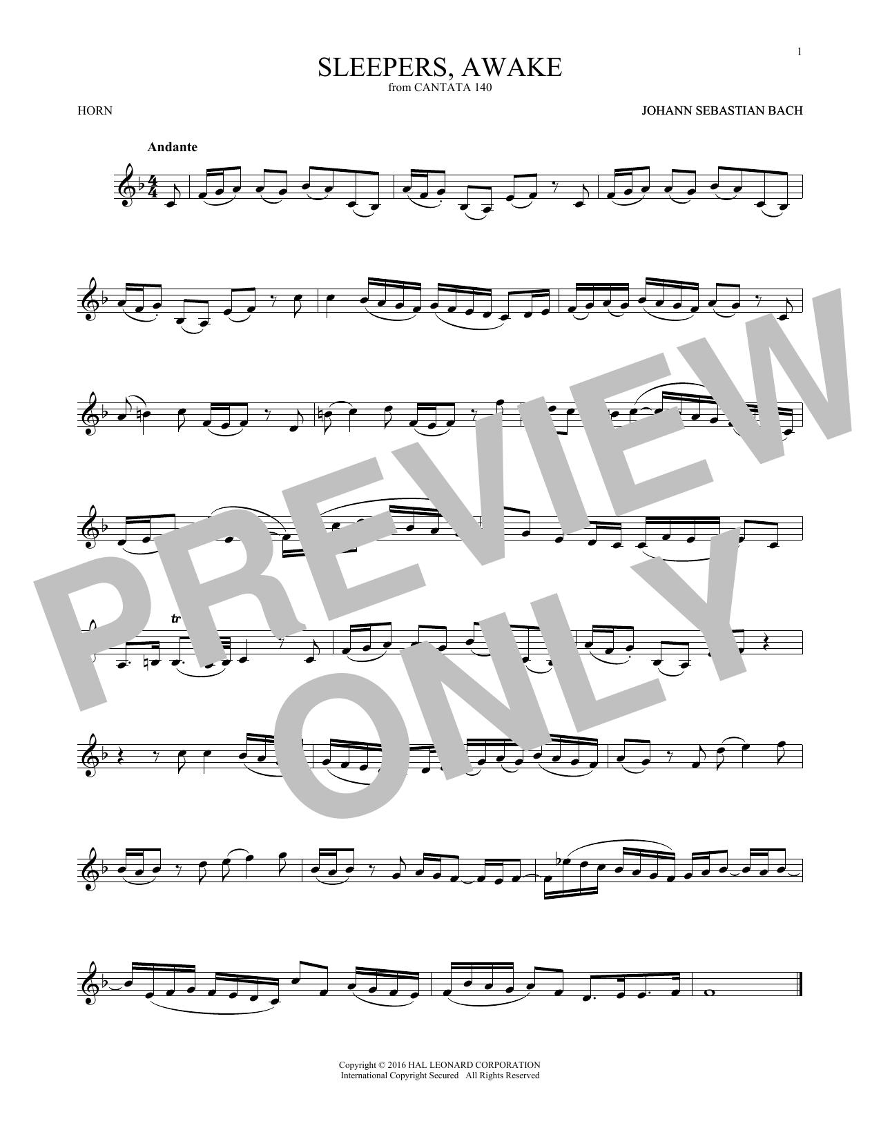 Sleepers, Awake (Wachet Auf) (French Horn Solo)