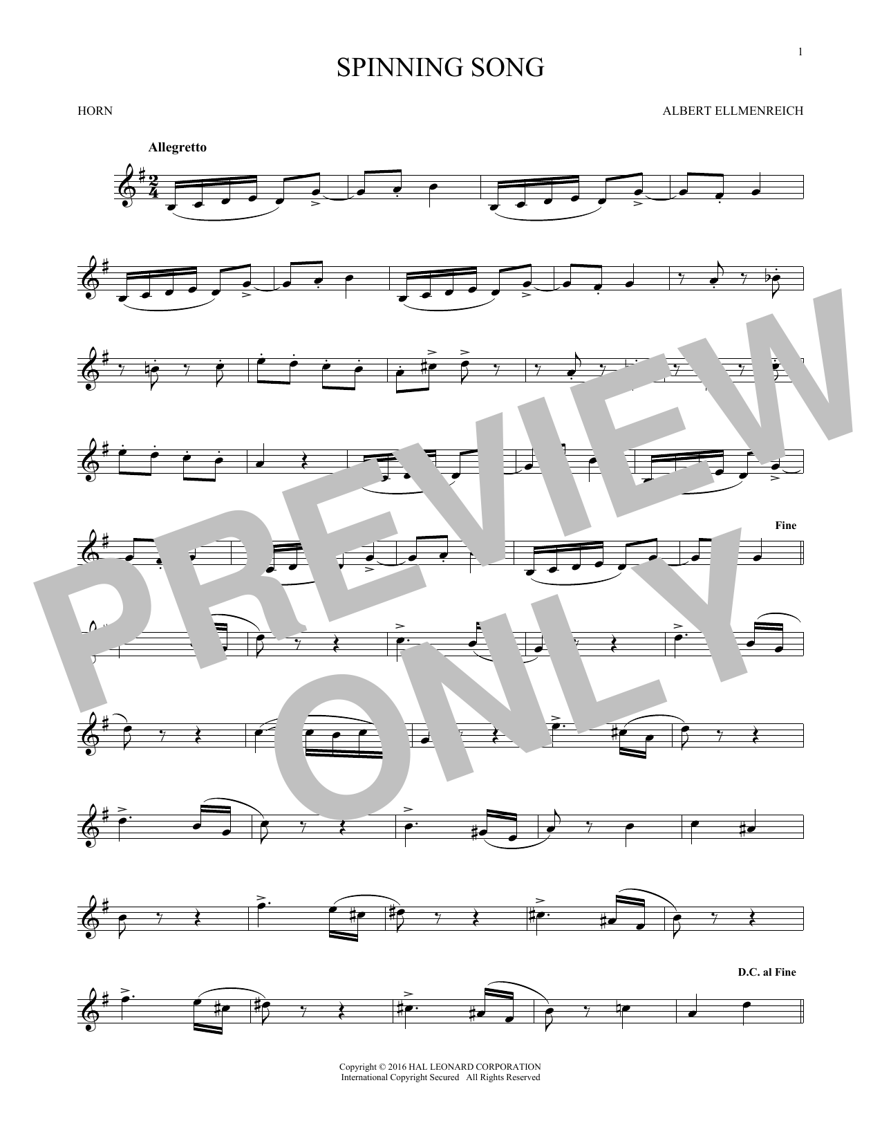Spinning Song (French Horn Solo)
