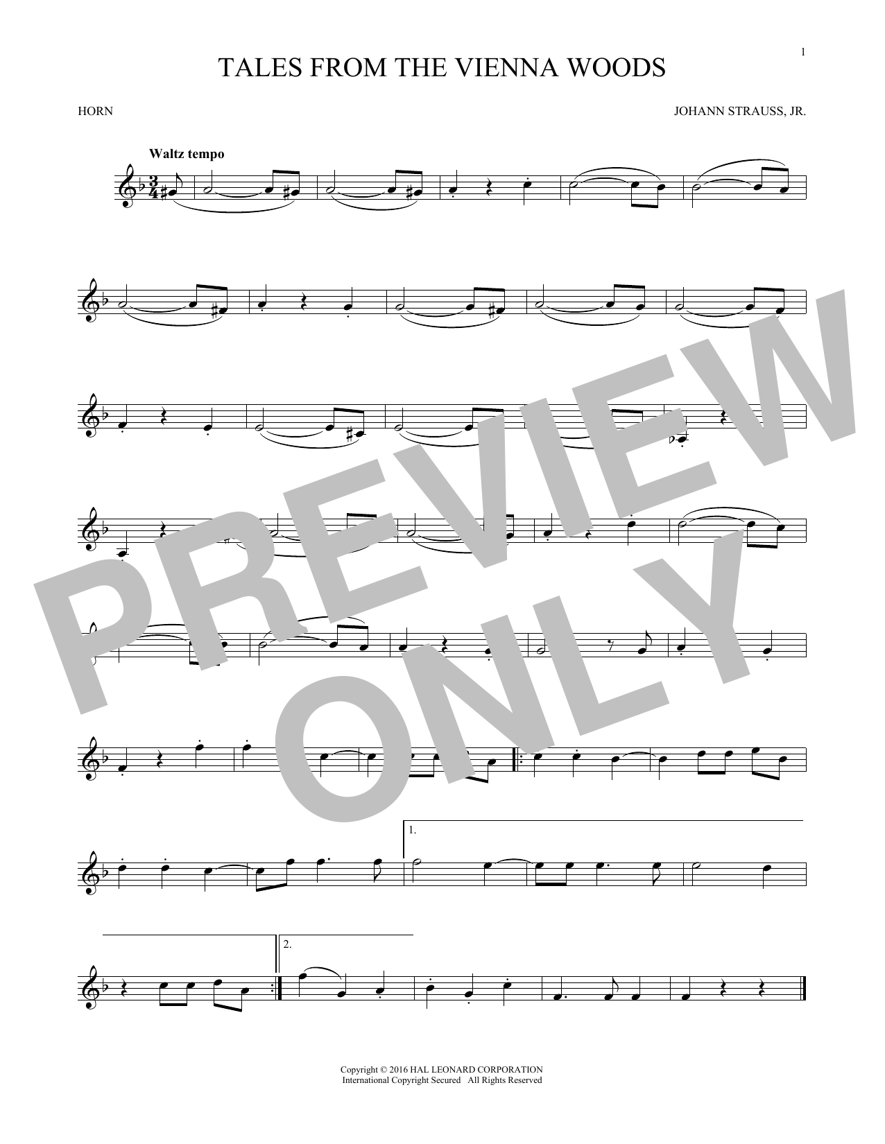 Tales From The Vienna Woods (French Horn Solo)