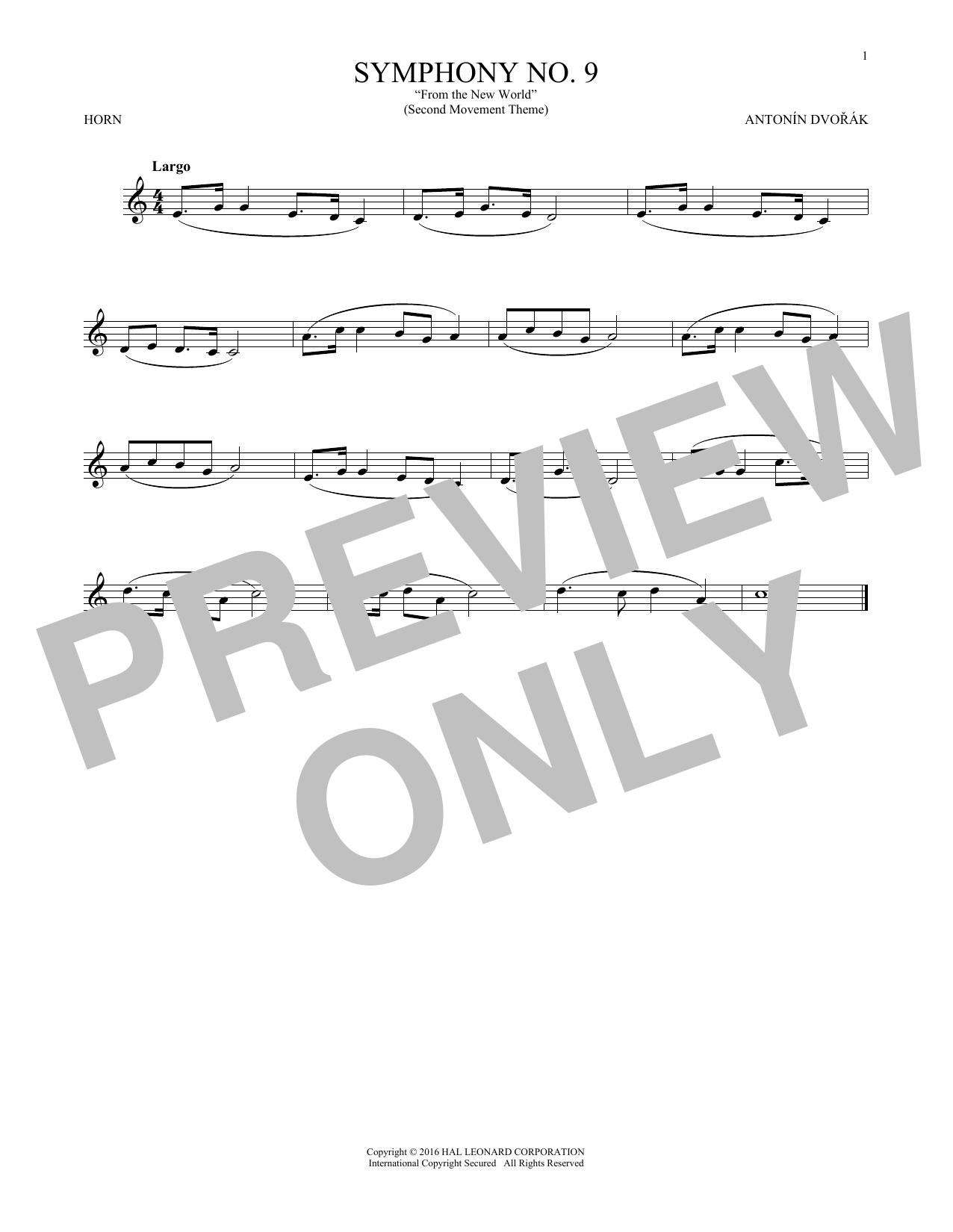 """Largo From Symphony No. 9 (""""New World"""") (French Horn Solo)"""
