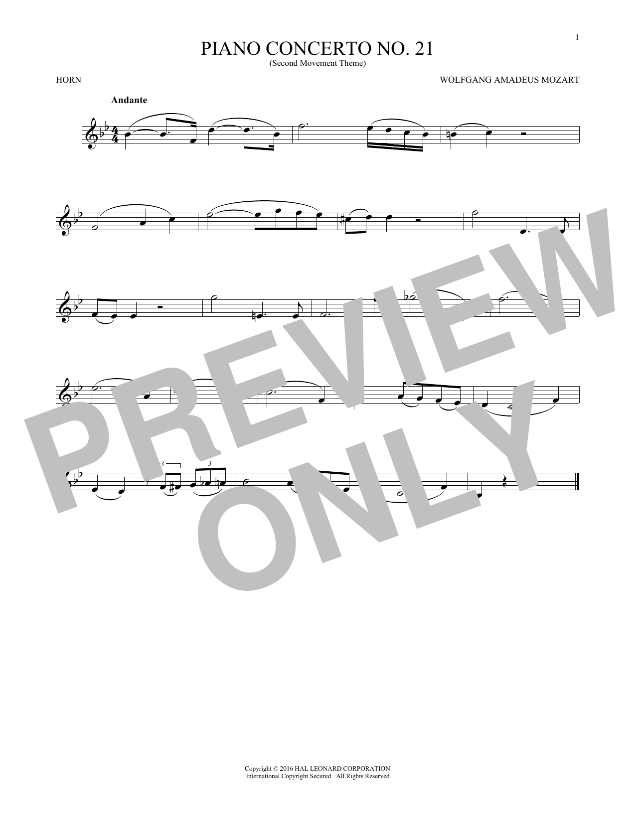 "Piano Concerto No. 21 In C Major (""Elvira Madigan""), Second Movement Excerpt (French Horn Solo)"