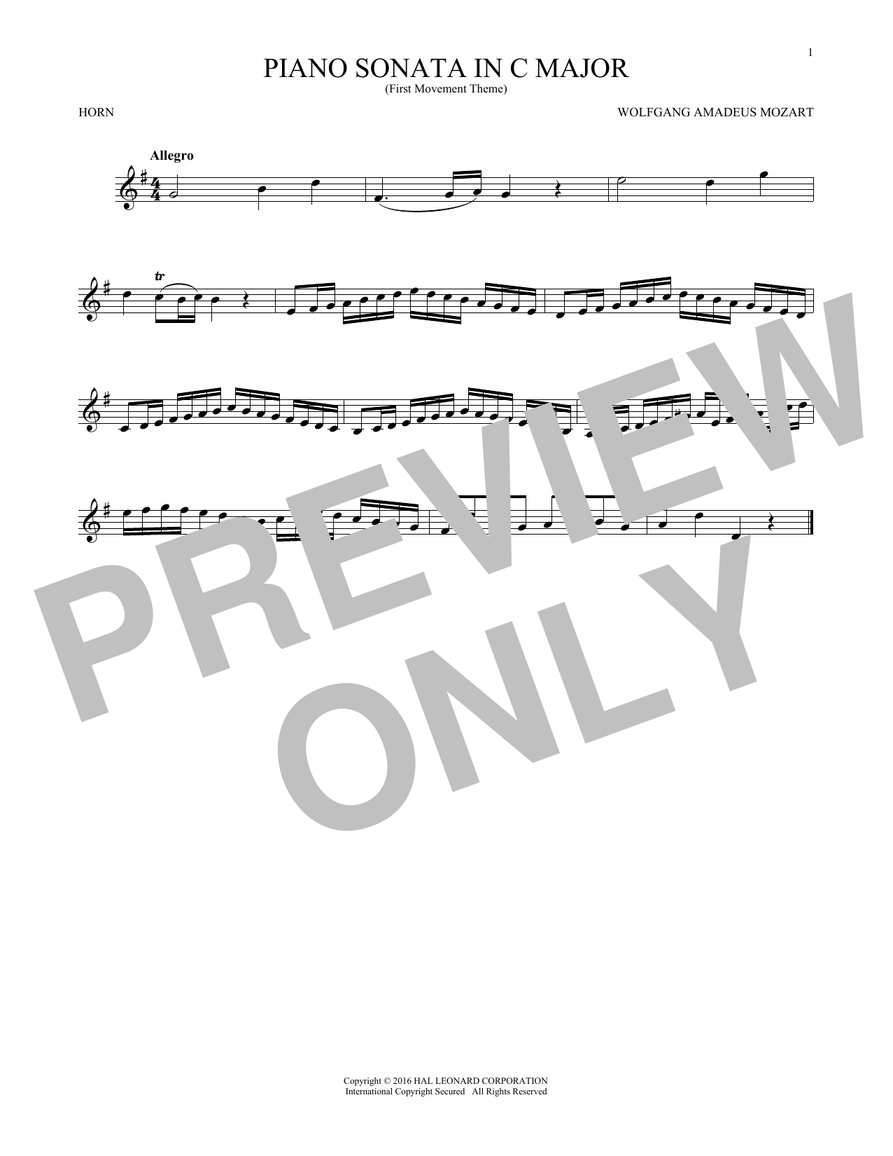 Piano Sonata In C Major other sheet music by Wolfgang Amadeus Mozart -  French Horn