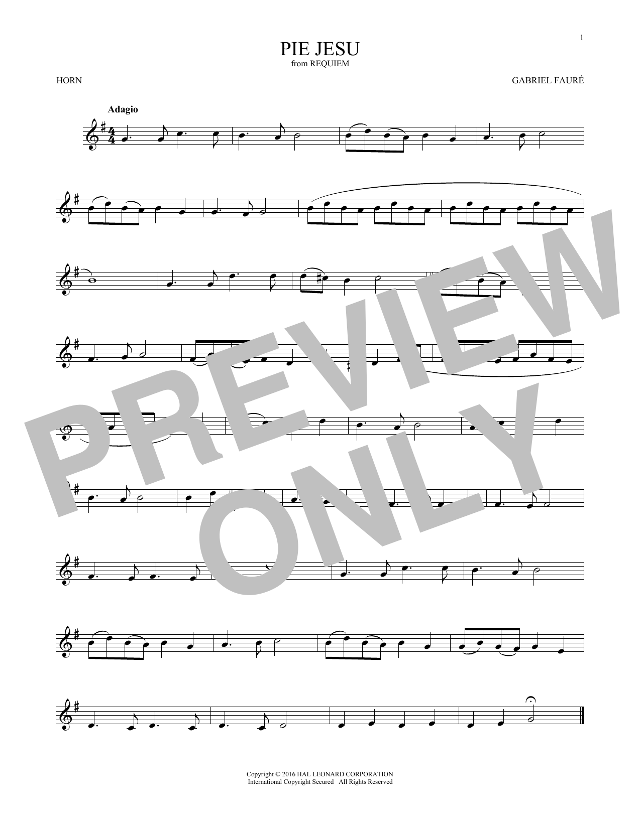 Pie Jesu (French Horn Solo)