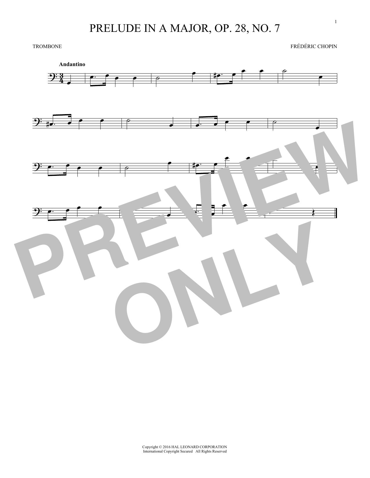 Prelude In A Major, Op. 28, No. 7 (Trombone Solo)
