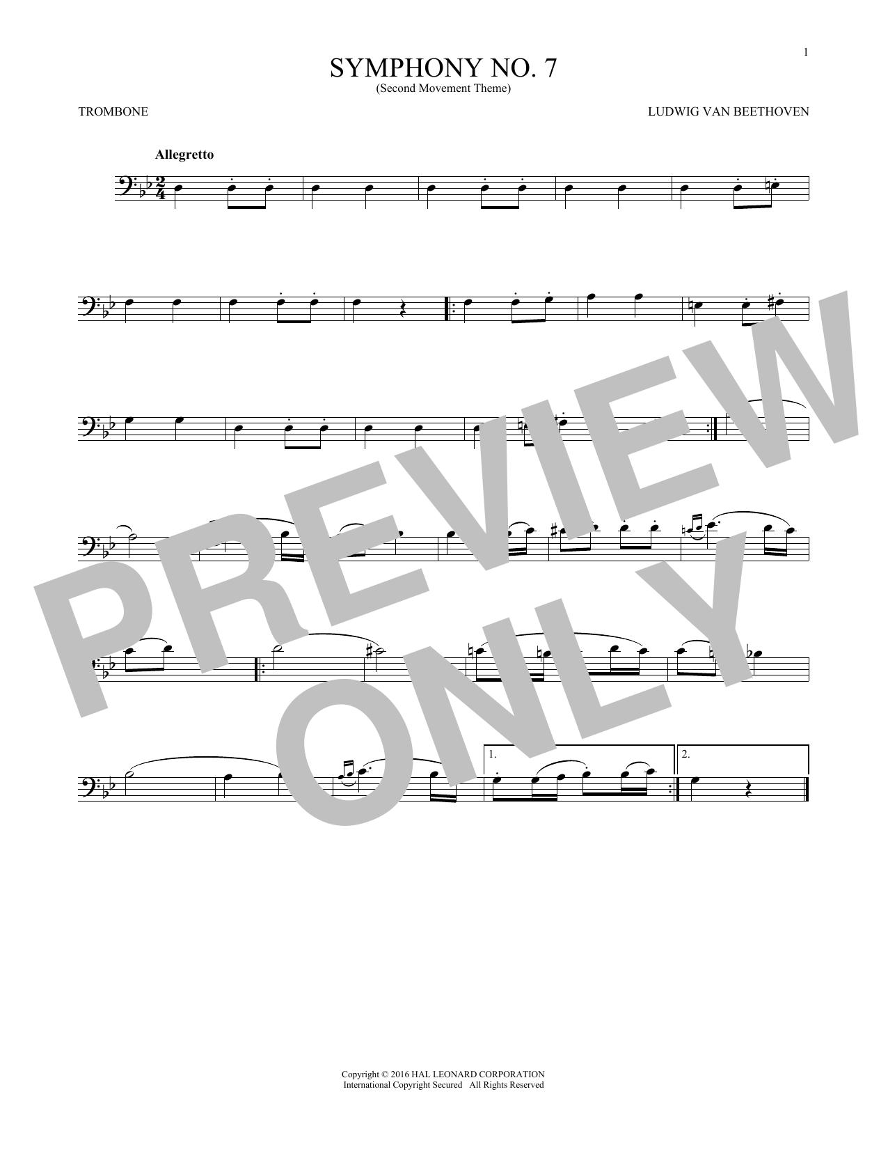 Symphony No. 7 In A Major, Second Movement (Allegretto) (Trombone Solo)