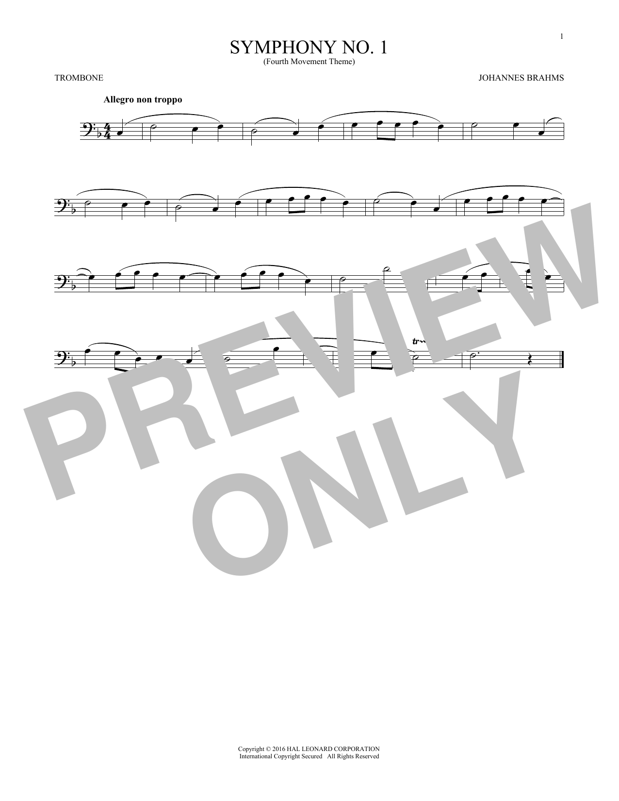 Symphony No. 1 In C Minor, Fourth Movement Excerpt (Trombone Solo)