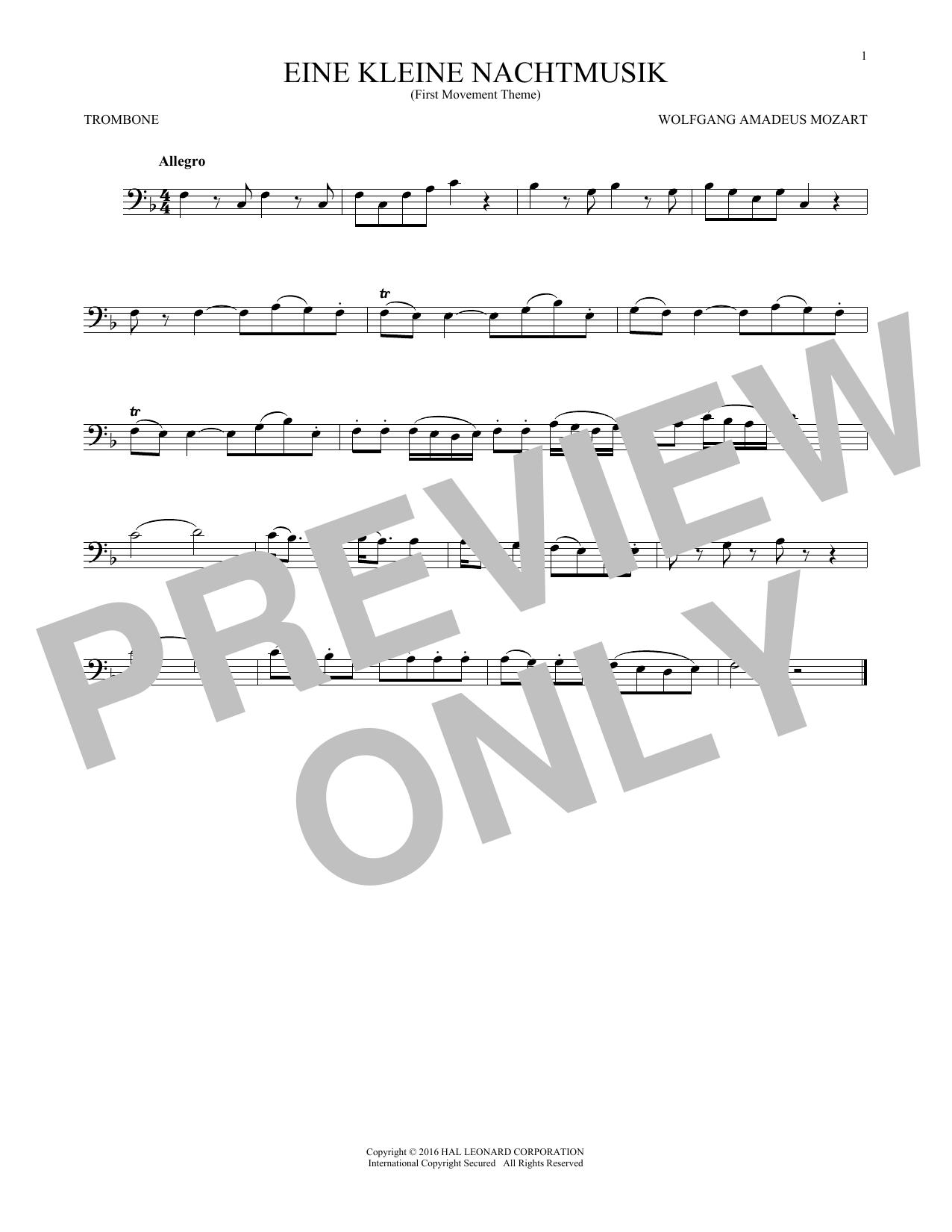 """Eine Kleine Nachtmusik (""""Serenade""""), First Movement Excerpt (Trombone Solo)"""